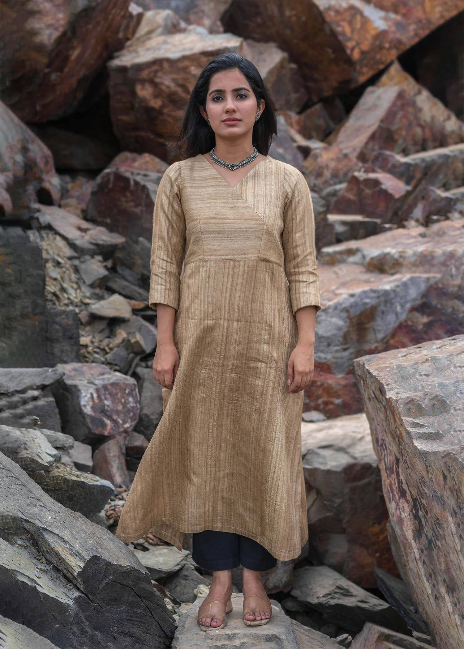 Beige Handwoven Kosa Silk Kurta