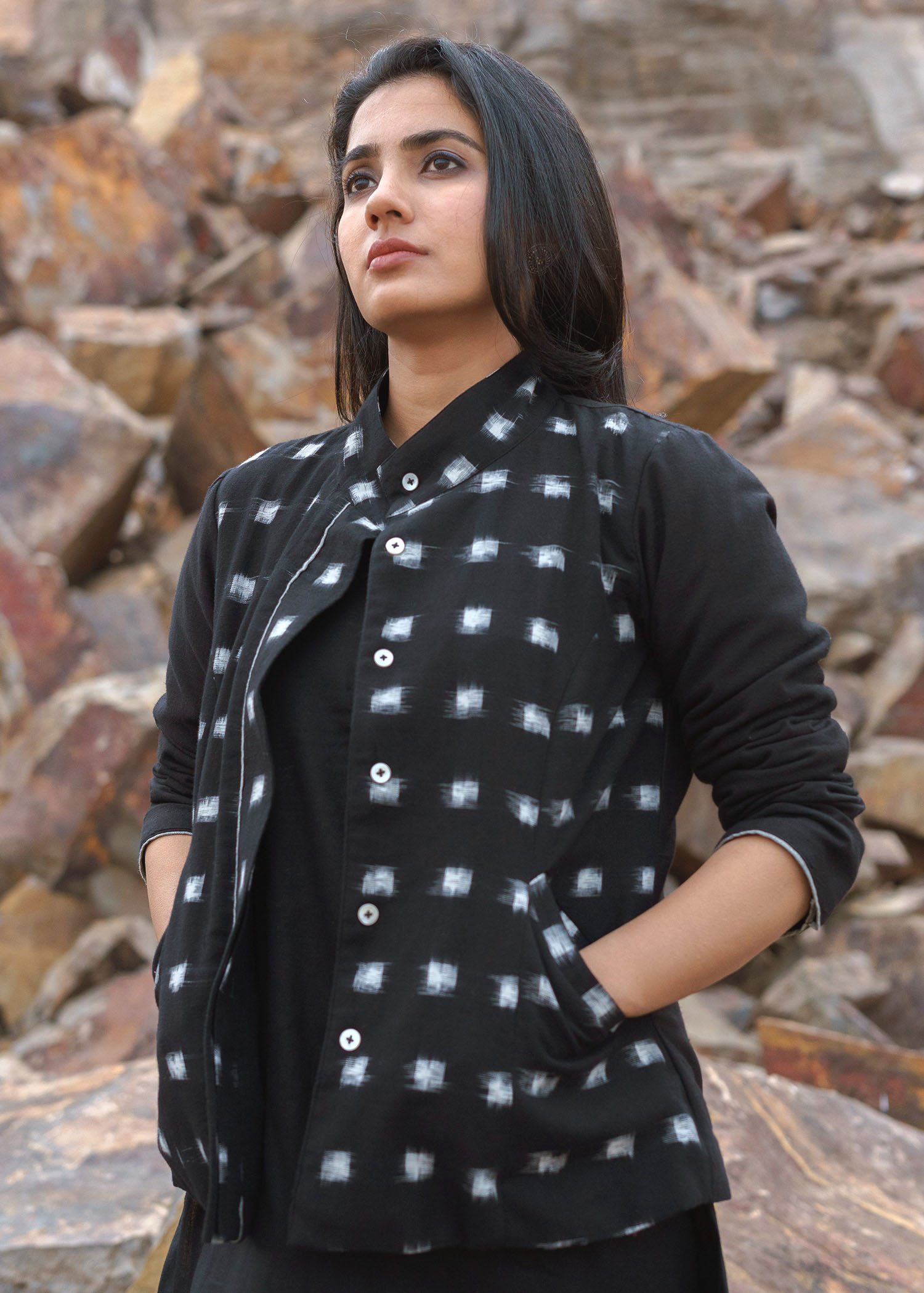 Ink Black Handspun Cotton & Ikat Jacket