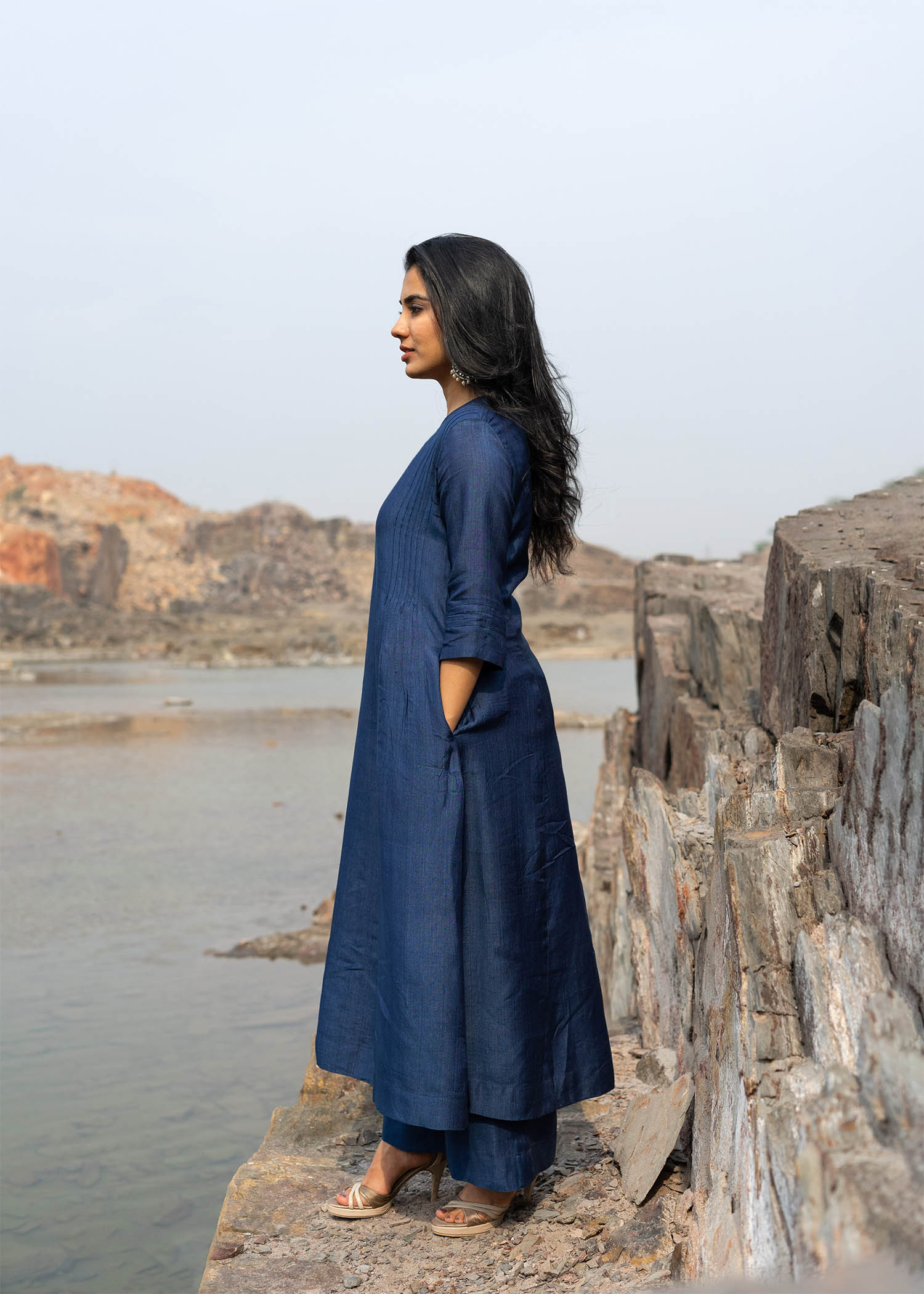 Midnight Blue Silk Cotton Ensemble