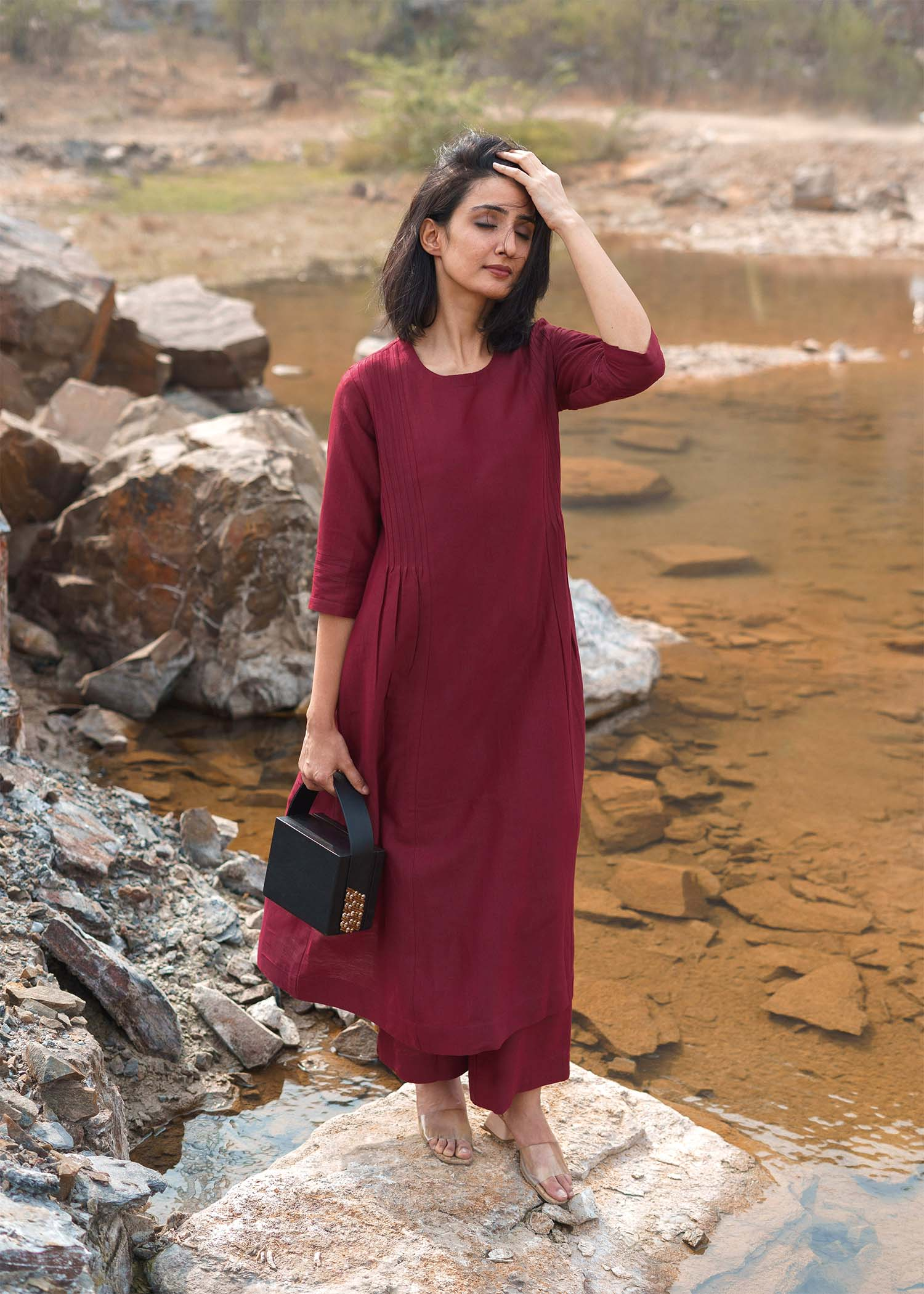 Burgundy Silk Cotton Ensemble