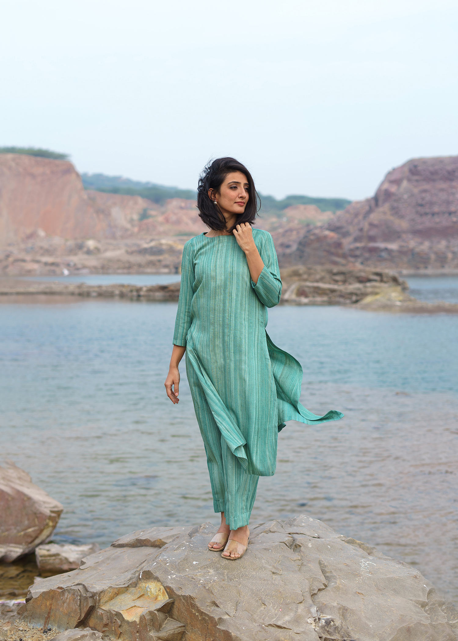 Mint Green Handwoven Kosa Silk Ensemble
