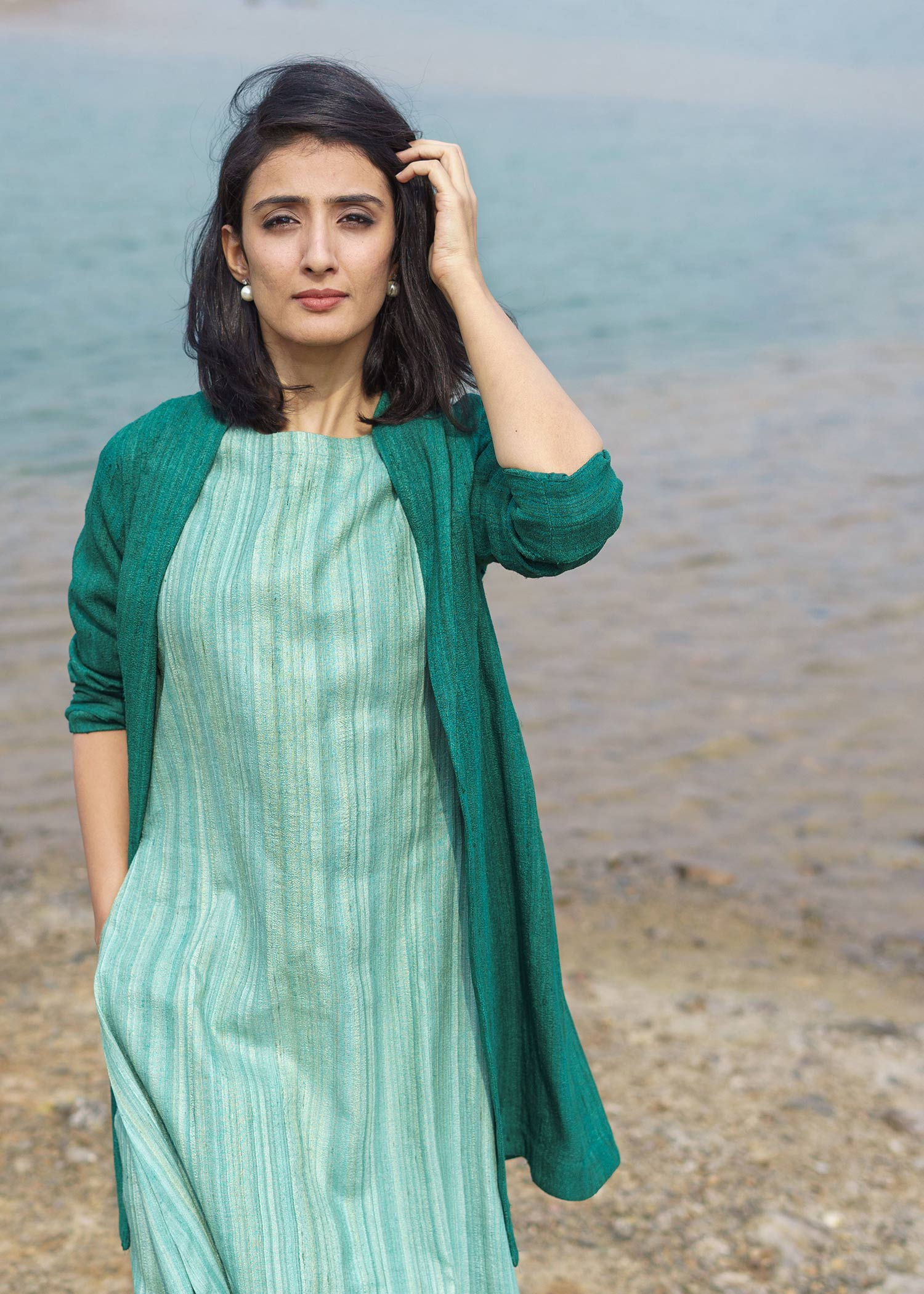 Emerald Green Handwoven Kosa Silk Jacket