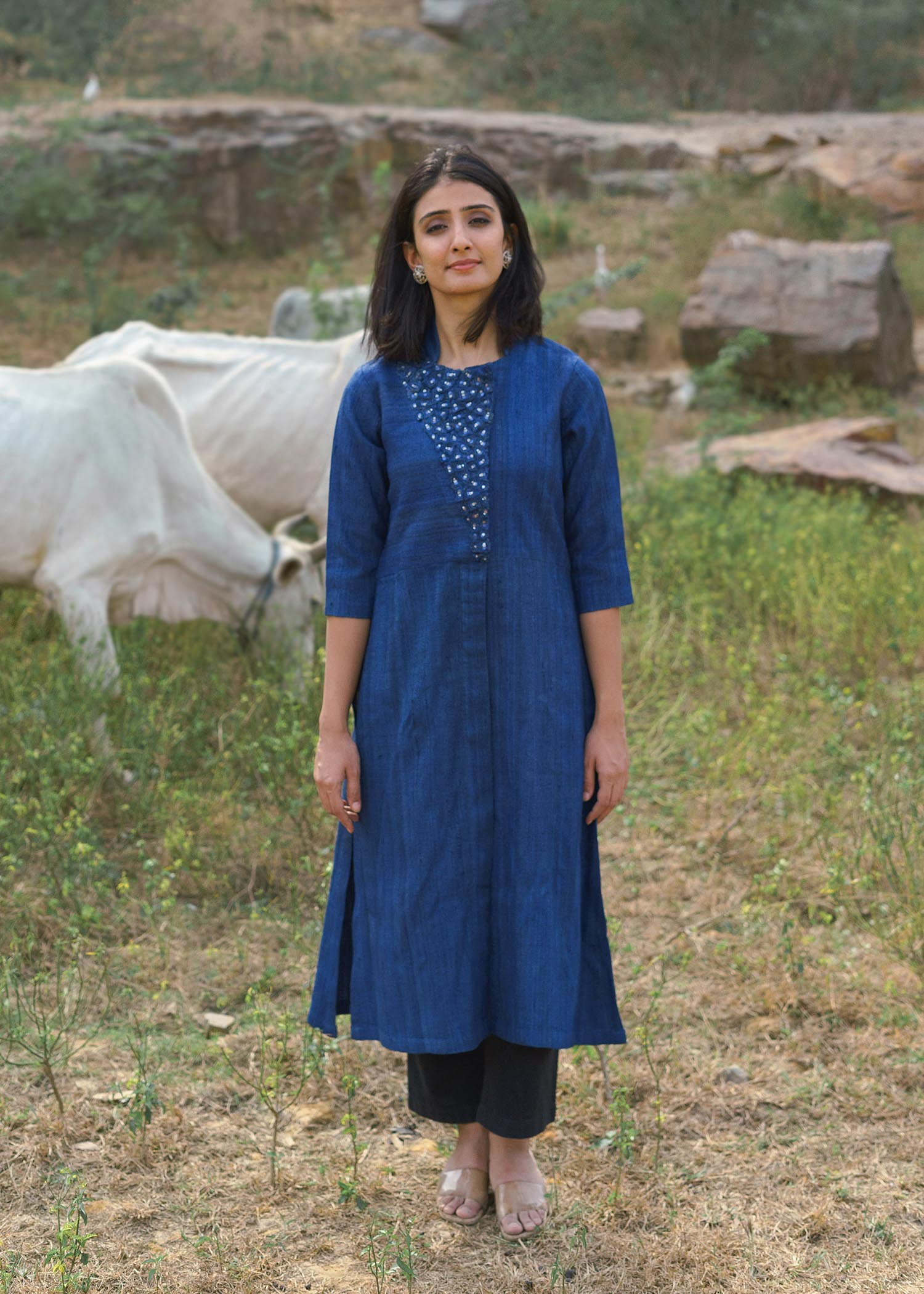 Midnight Blue Handwoven Kosa Silk Kurta with Mosaic Cut-Fray Handwork