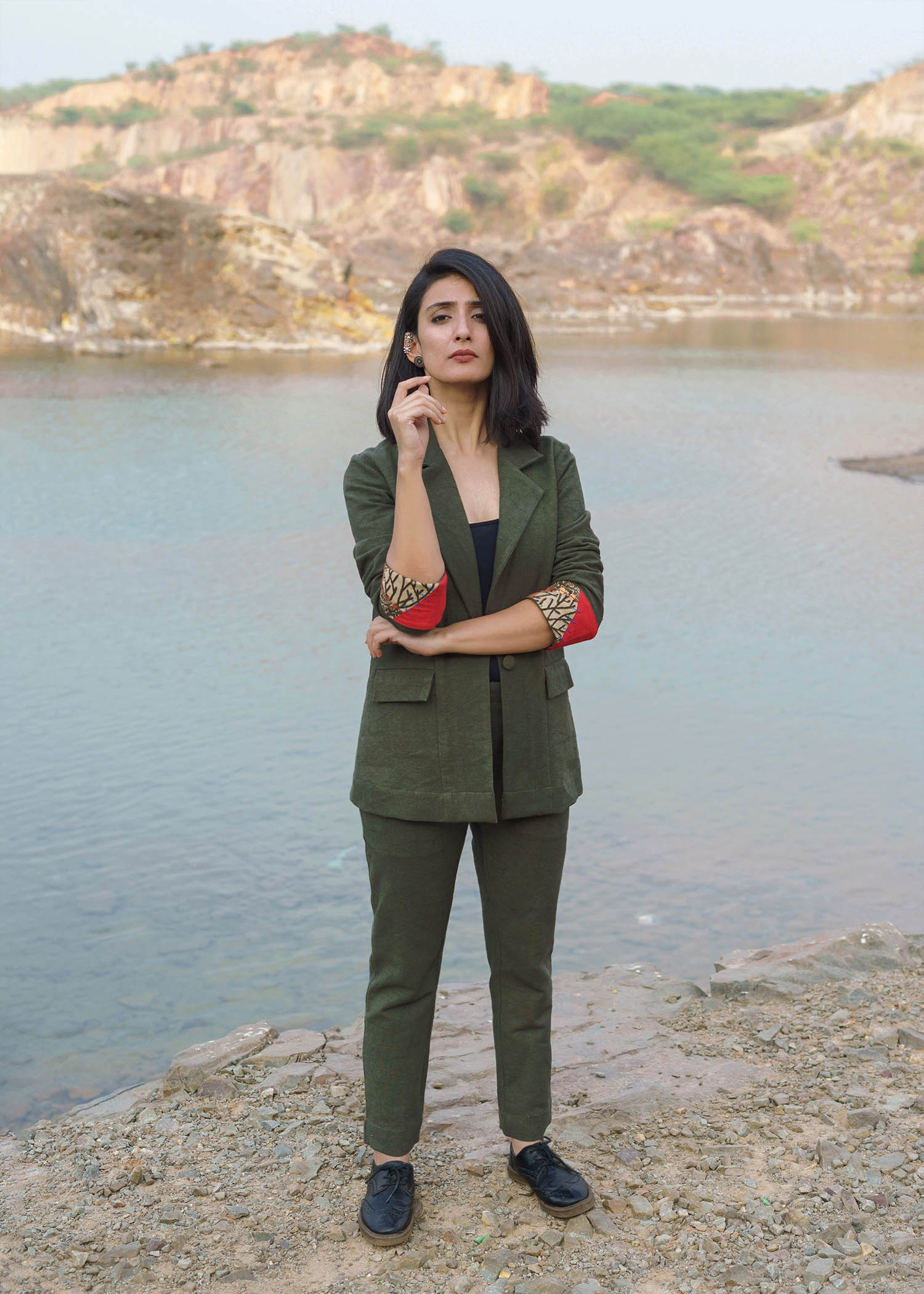 Olive Green Jacket & Pant Suit Set with Upcycled Patchwork Detailing