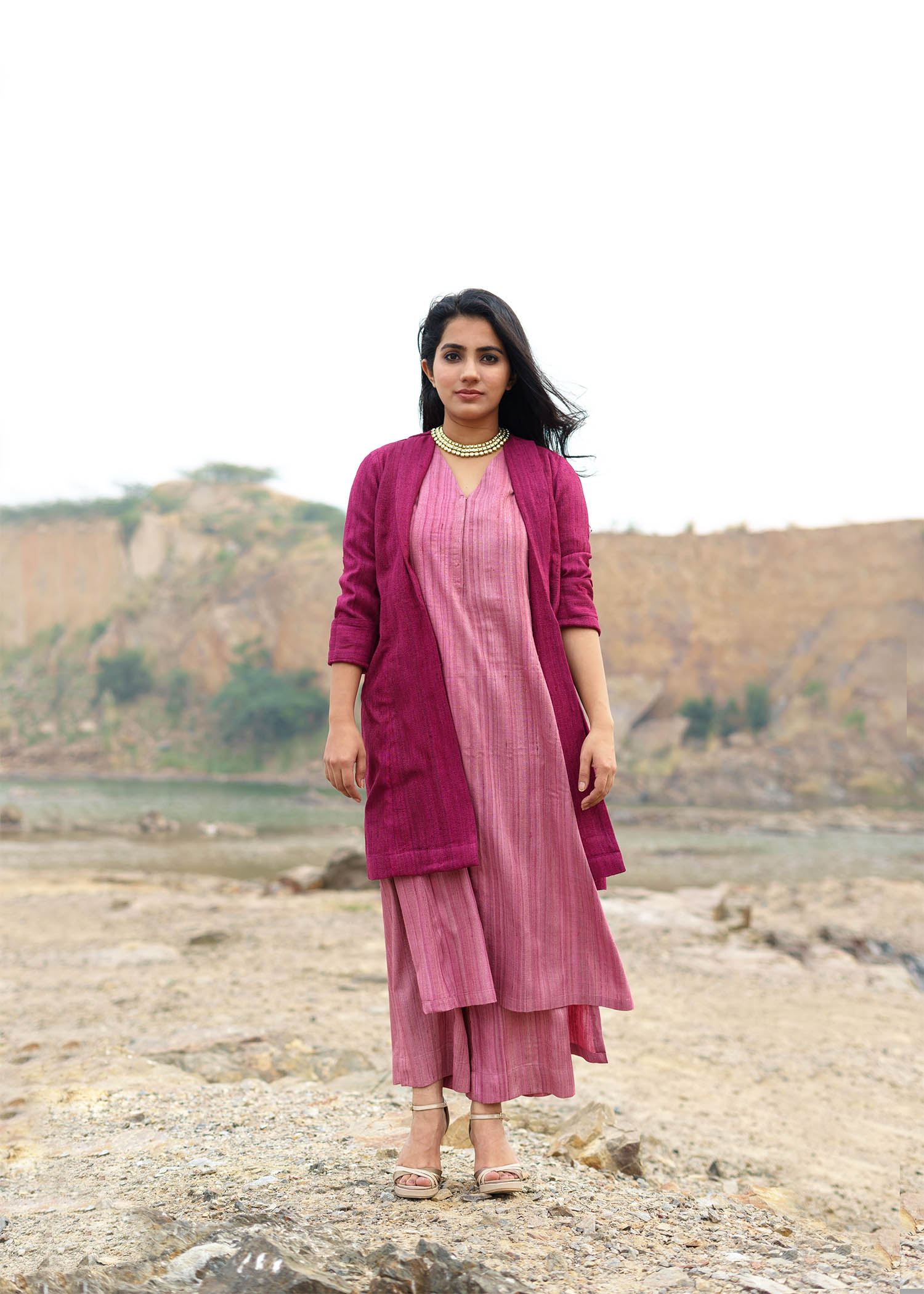 Ruby Pink Handwoven Kosa Silk Jacket
