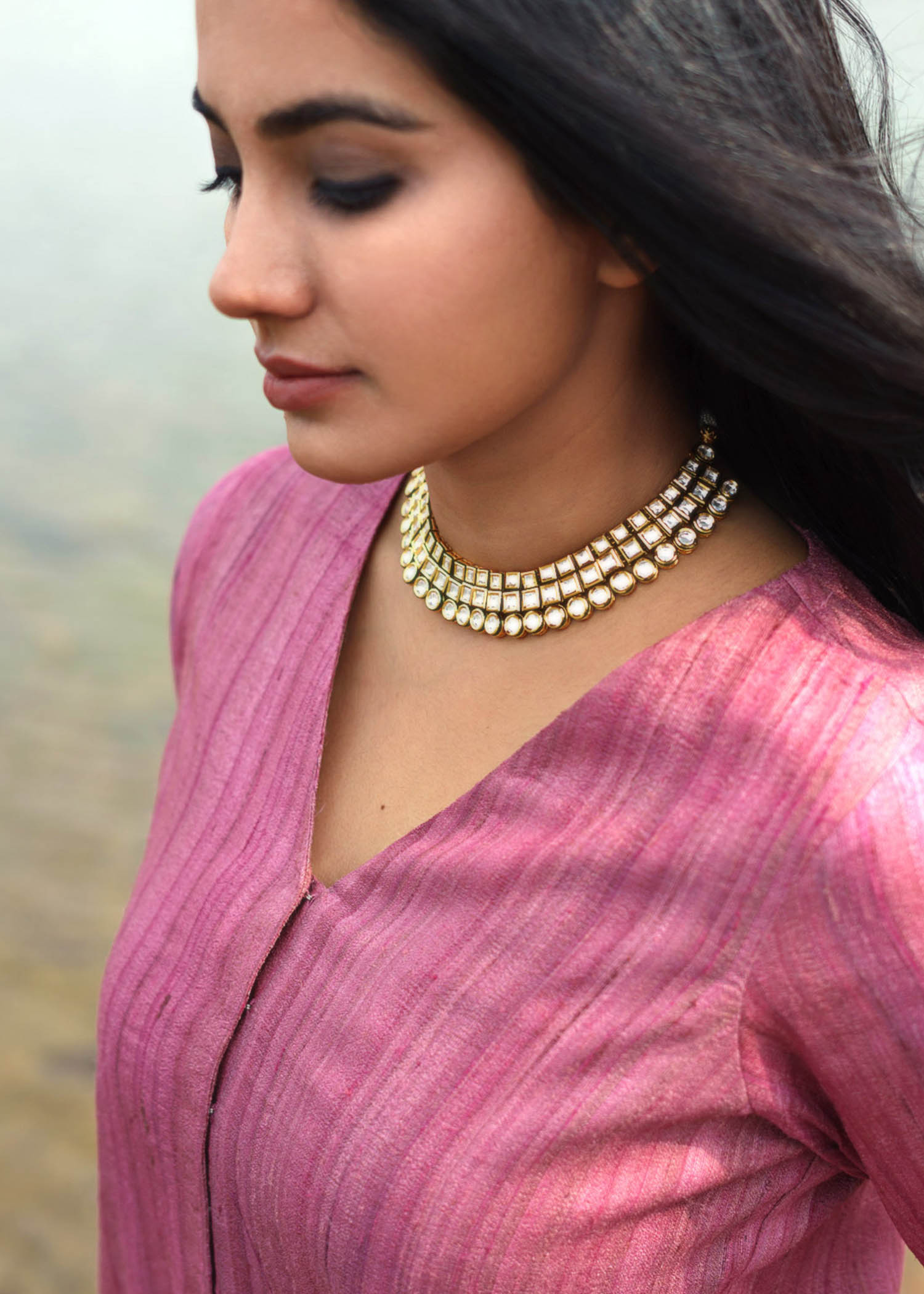 Rose Pink Handwoven Kosa Silk Ensemble