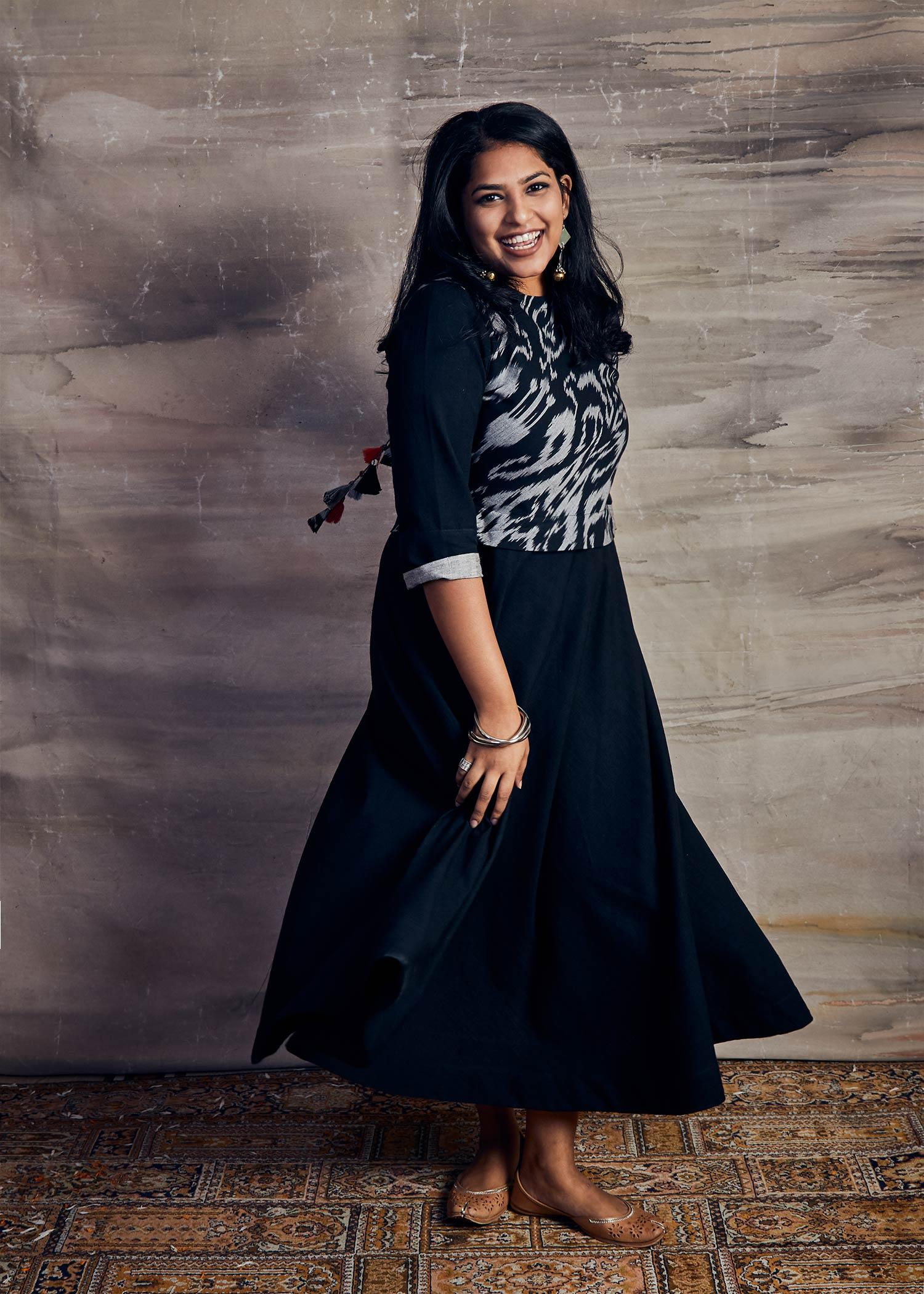 Black Handspun Cotton & Uzbeki Style Ikat Dress with Handmade Tassels