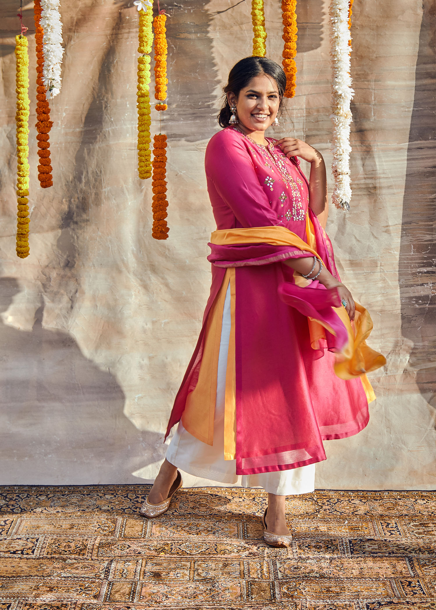 Deep Magenta & Tangerine Silk Chanderi Ensemble with Gota Patti