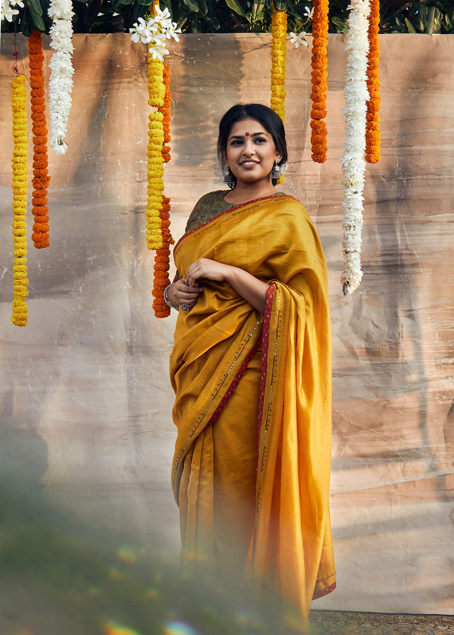 Mustard Yellow Silk Chanderi Saree with Abla Handwork & Silk Ikat Edging