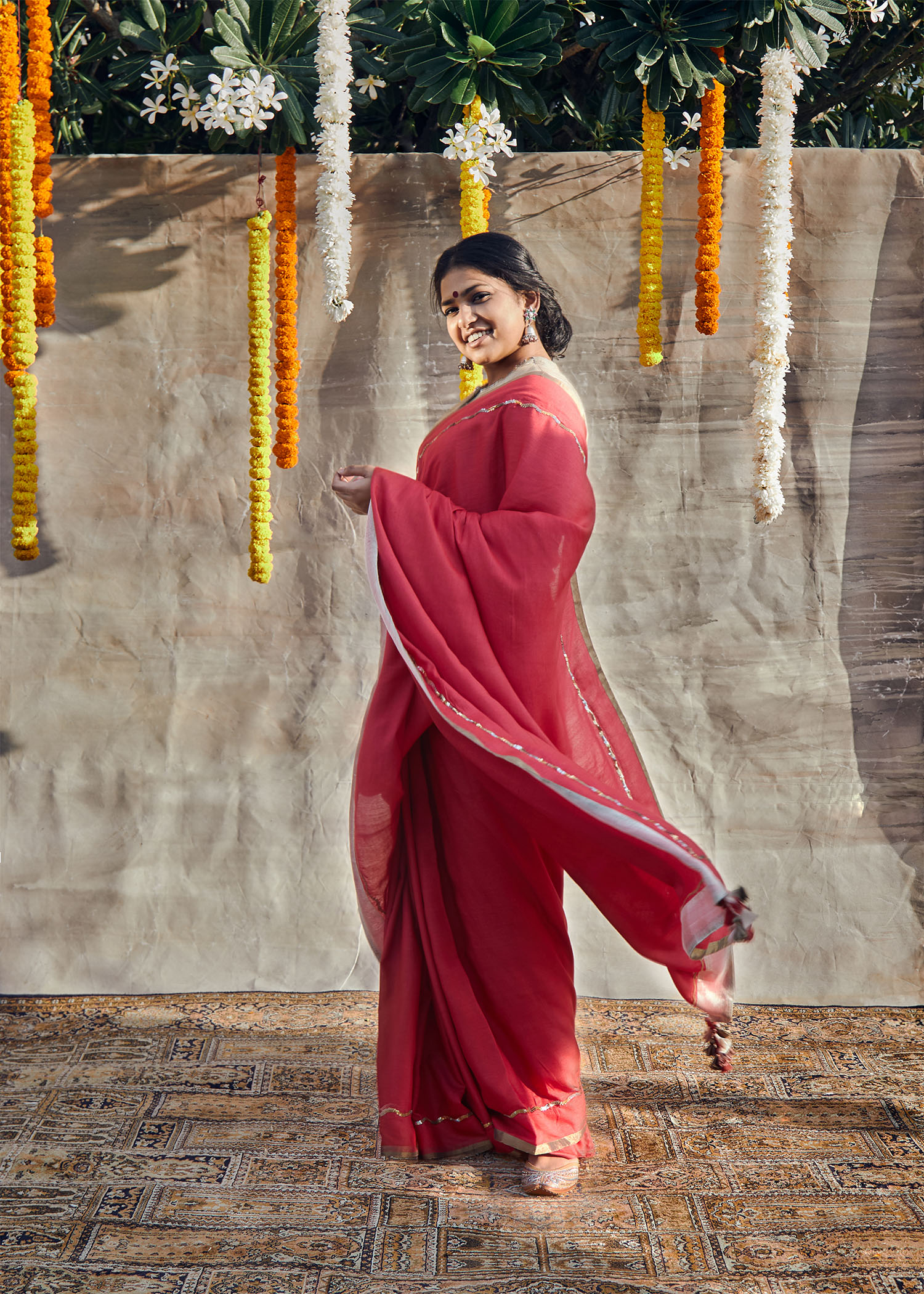 Red Silk Cotton Saree with Sequin Handwork & Tissue Edging