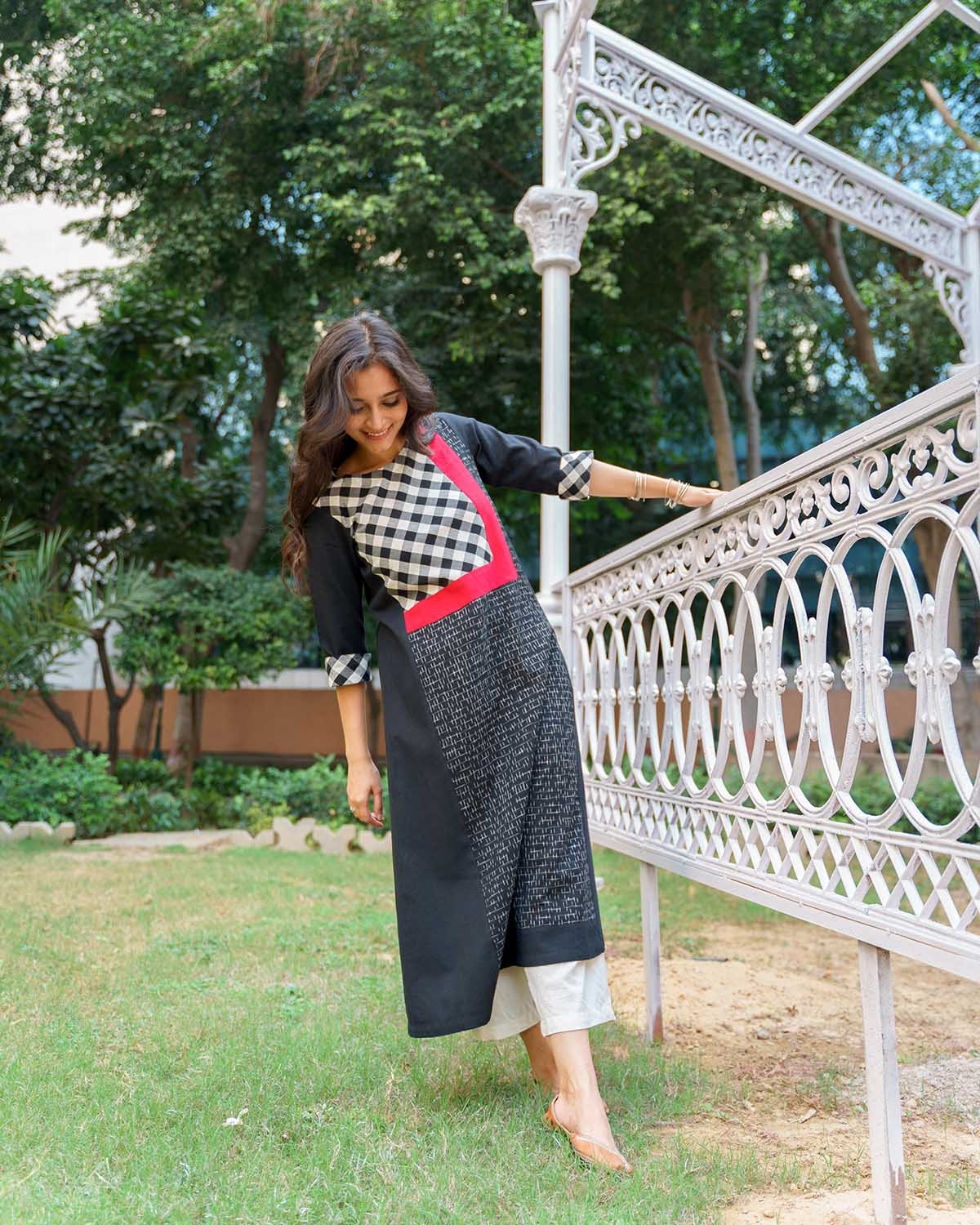 Black, White & Red Handwoven Cotton & Ikat Kurta