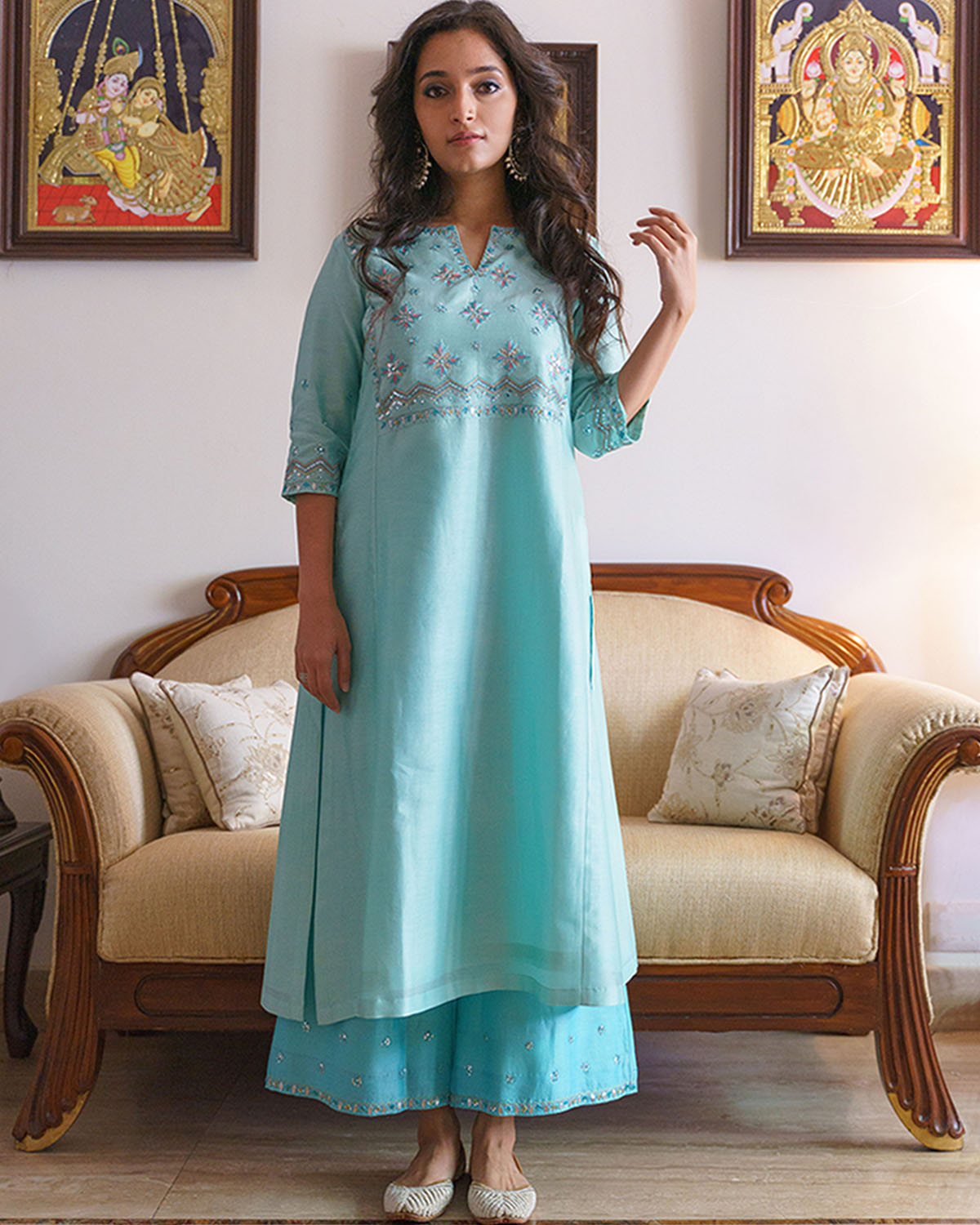Aqua & Ferozi Blue Silk Chanderi Gota Patti & Resham Handwork Ensemble