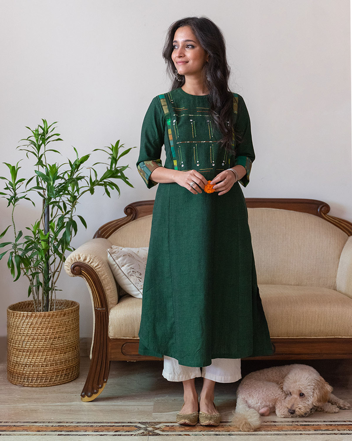 Deep Green Handwoven Cotton Kurta with Ikat & Thread Handwork