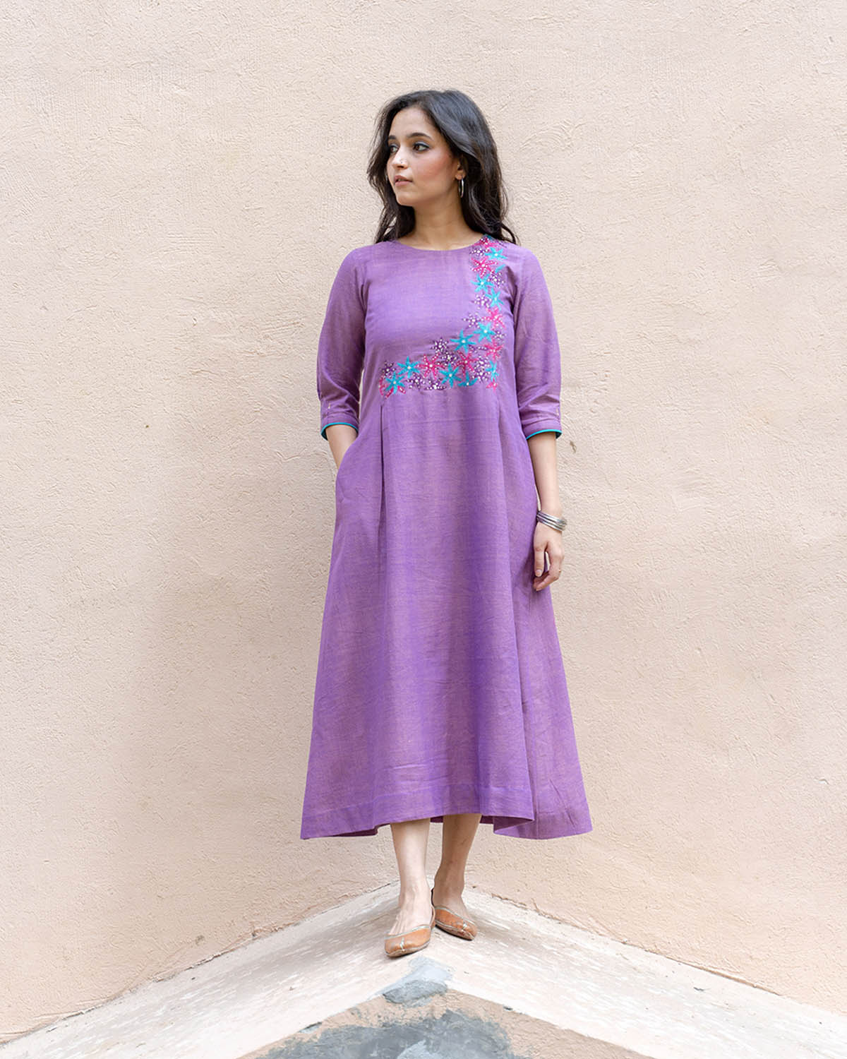 Lavender Handwoven Cotton Dress with Handwork