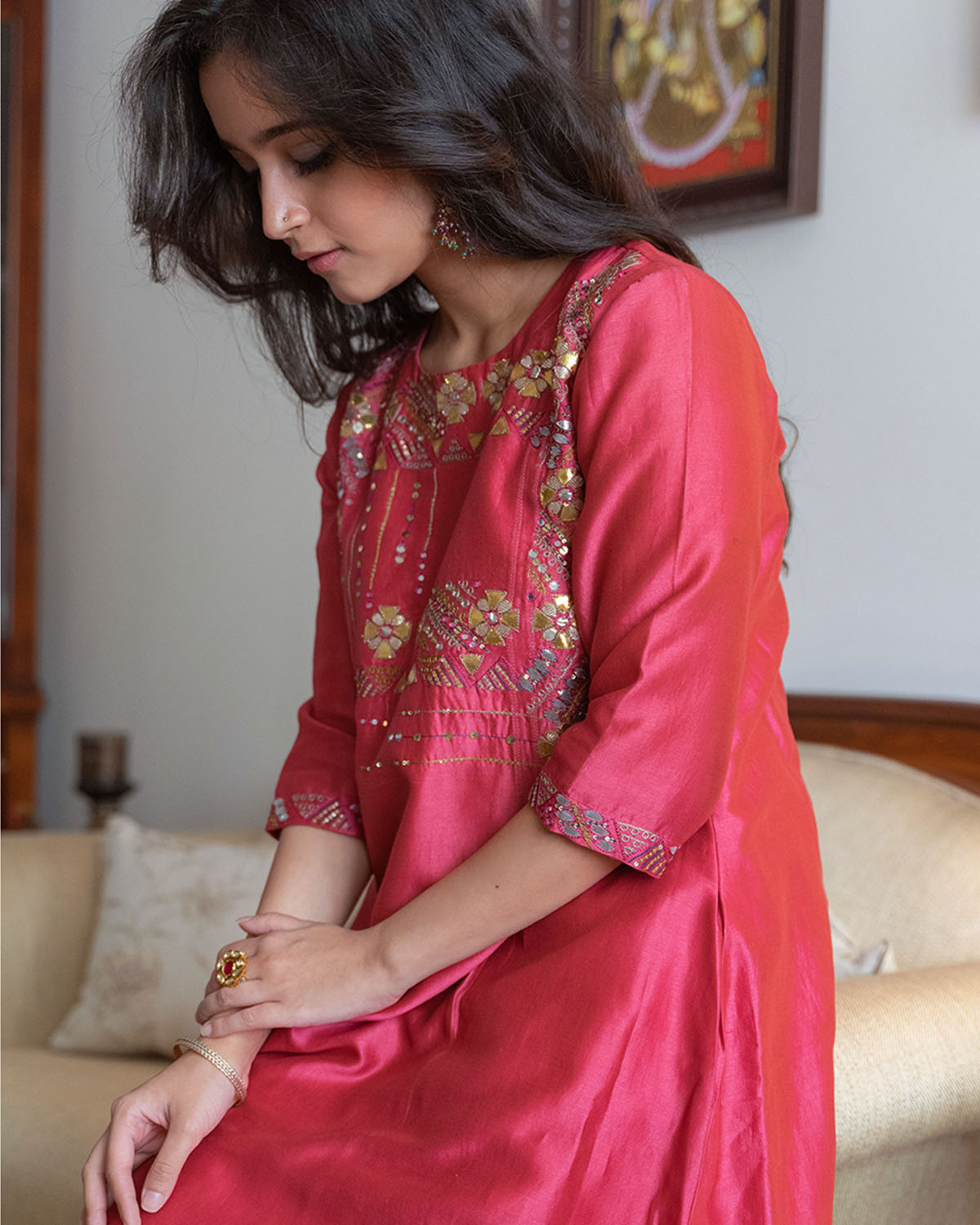 Apple Red & Ash Grey Silk Chanderi Gota Patti & Resham Handwork Ensemble