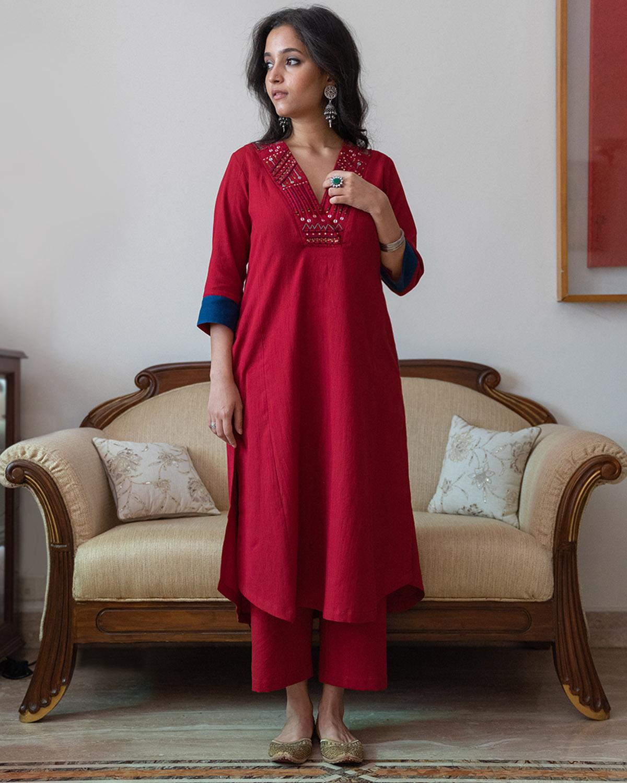 Chilly Red Handwoven Cotton Kurta with Dori & Thread Handwork