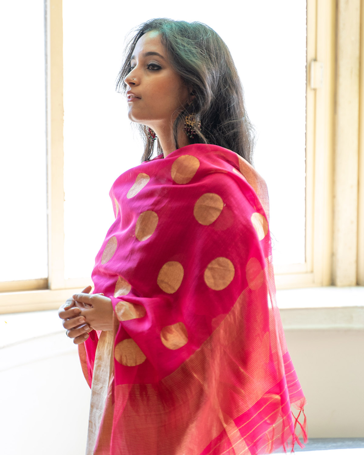 Gulabi & Gold Sikka Booti Silk Chanderi Dupatta with Zari Handwork