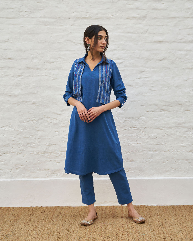 Cobalt Blue Handwoven Cotton Kurta with Attached Short Jacket