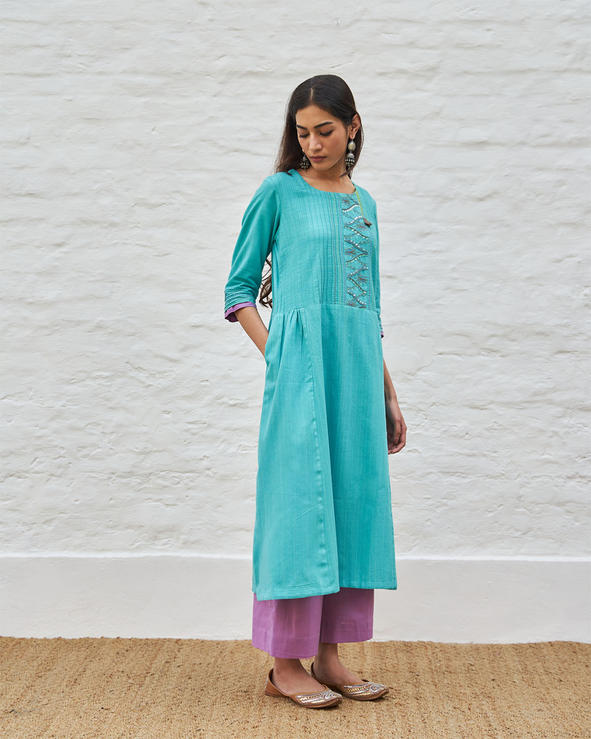 Aqua Blue Handwoven Cotton Tunic with Pintuck Detailing & Handwork