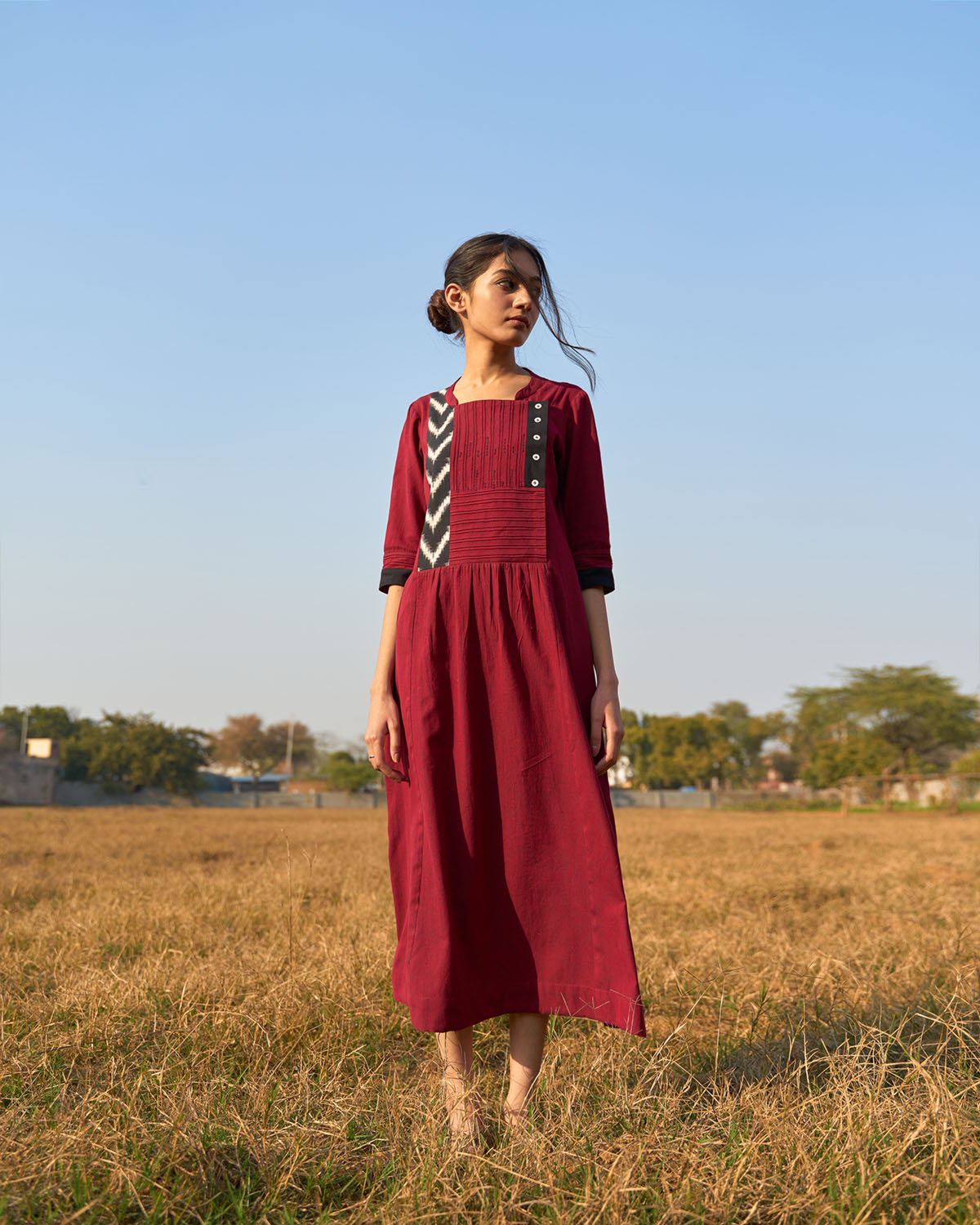 Burgundy Handwoven Cotton & Ikat Tunic with Pintuck Detailing