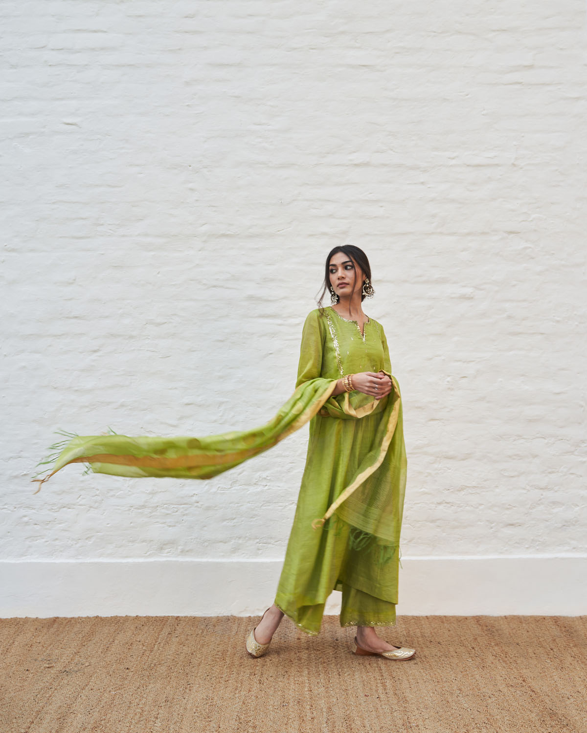 Lime Green Silk Tissue Chanderi Set with Sikka Booti Silk Chanderi Dupatta