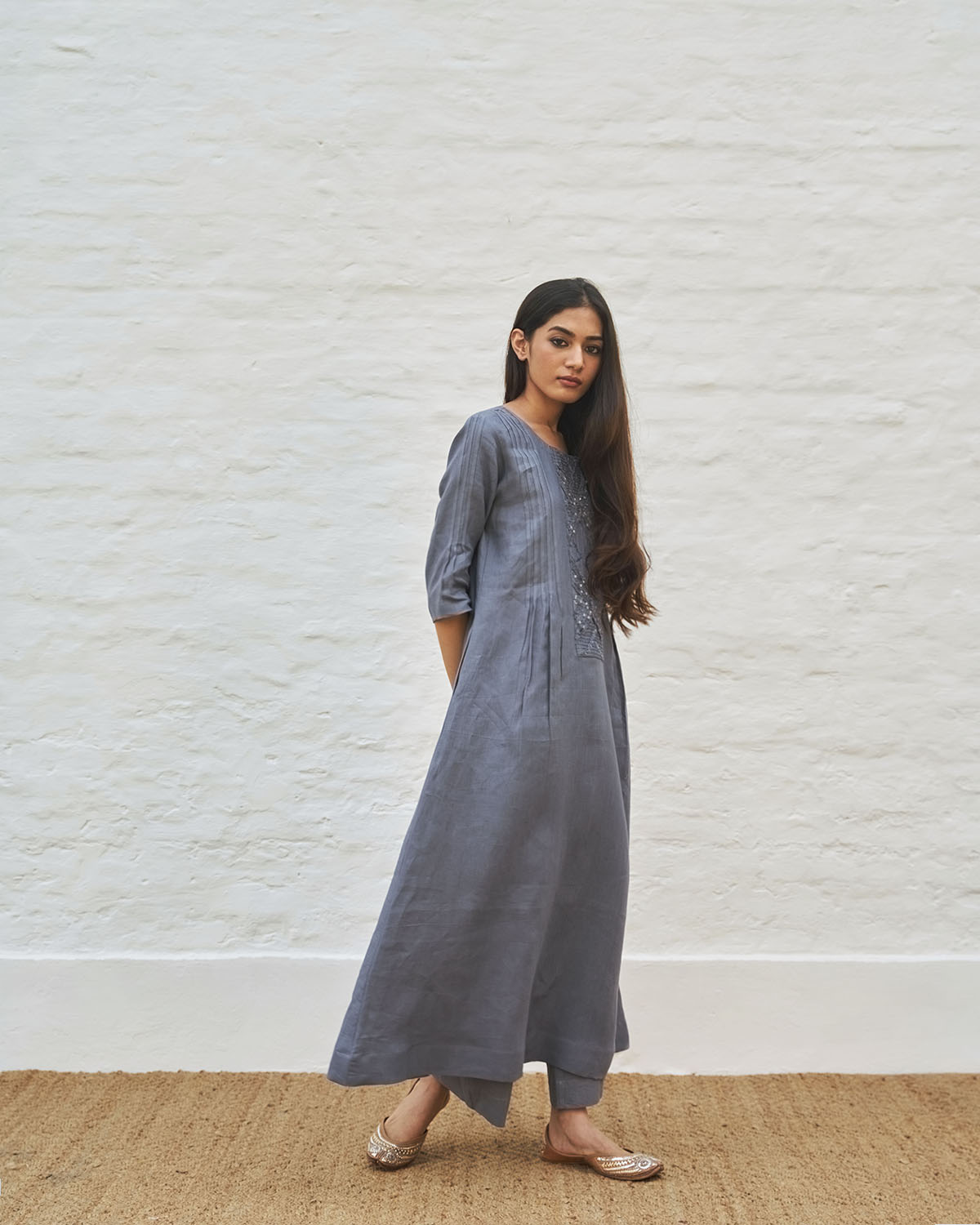Cool Grey Pure Linen Tunic with Cut-Fray Handwork Panel and Pintucks