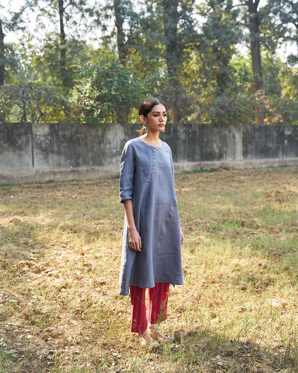 Cool Grey Pure Linen Tunic with Asymmetrical Hemline & Shell-Button Detailing