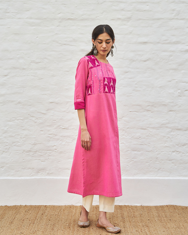 Candy Pink Handwoven Cotton & Ikat Kurta with Handwork