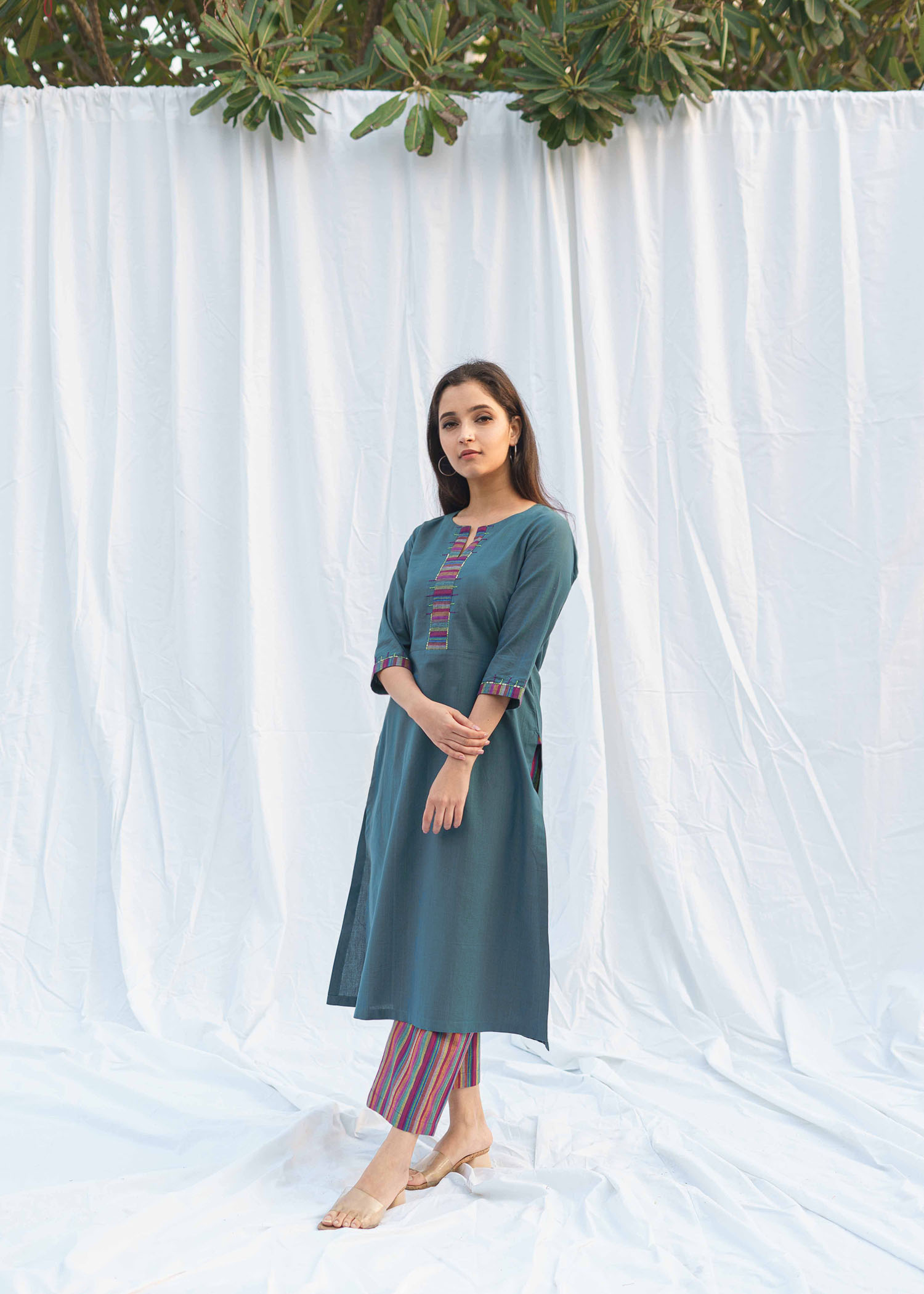 Teal Blue Woven Cotton Kurta with Striped Pants