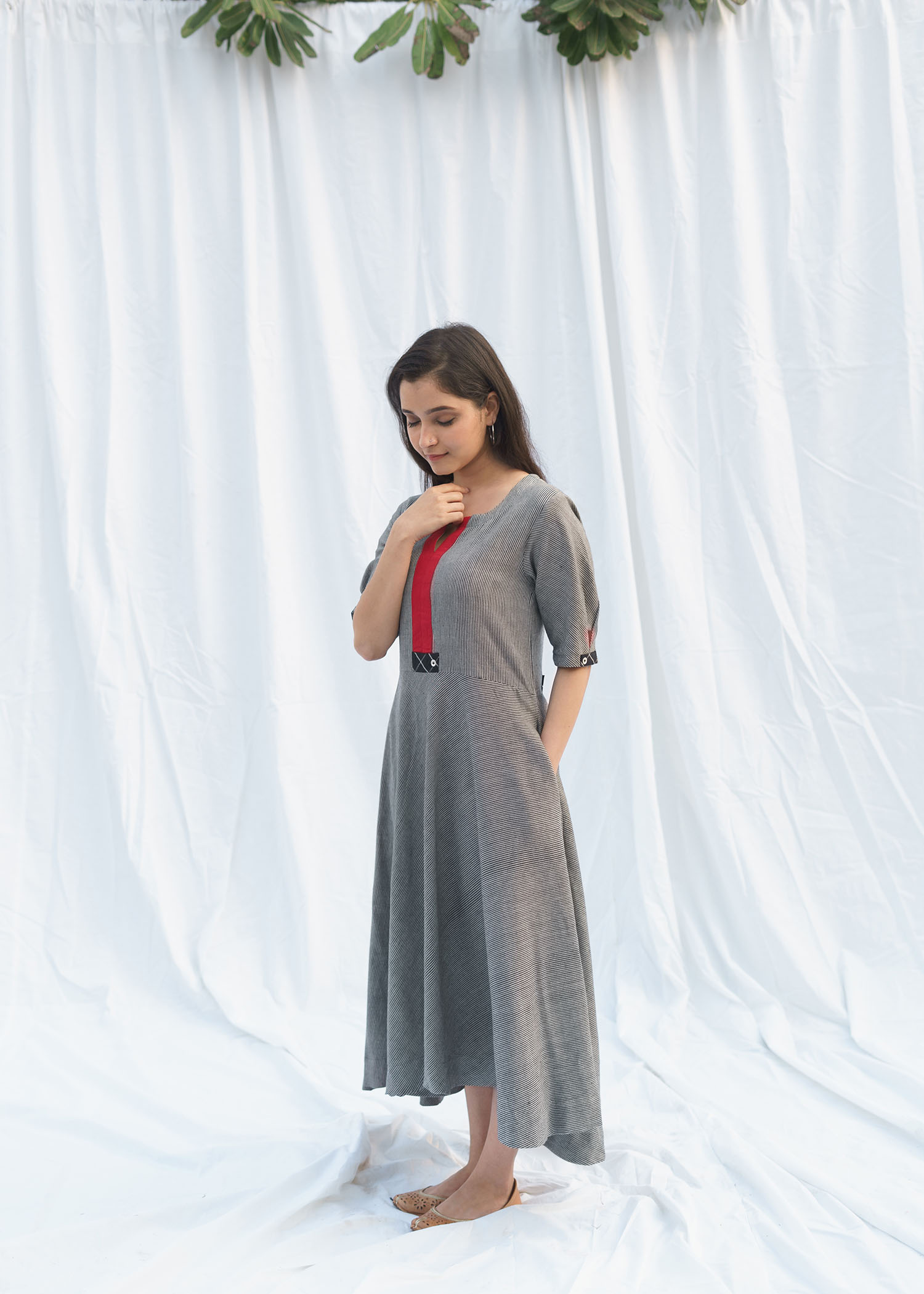 Black & White Pinstripe Handwoven Cotton Asymmetrical Dress