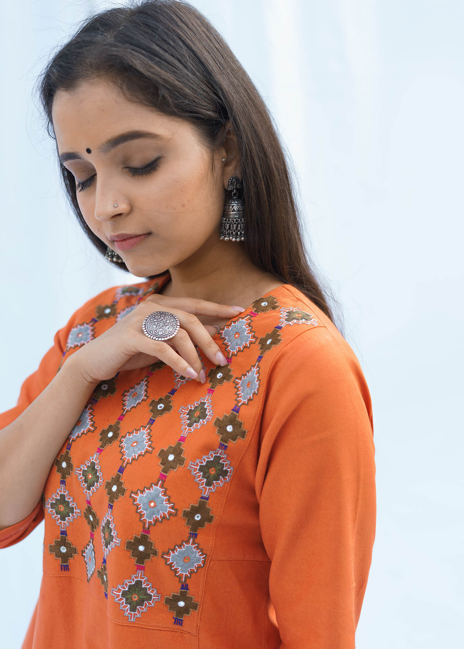 Terracotta Orange Handwoven Cotton Kurta with Embroidered Yoke