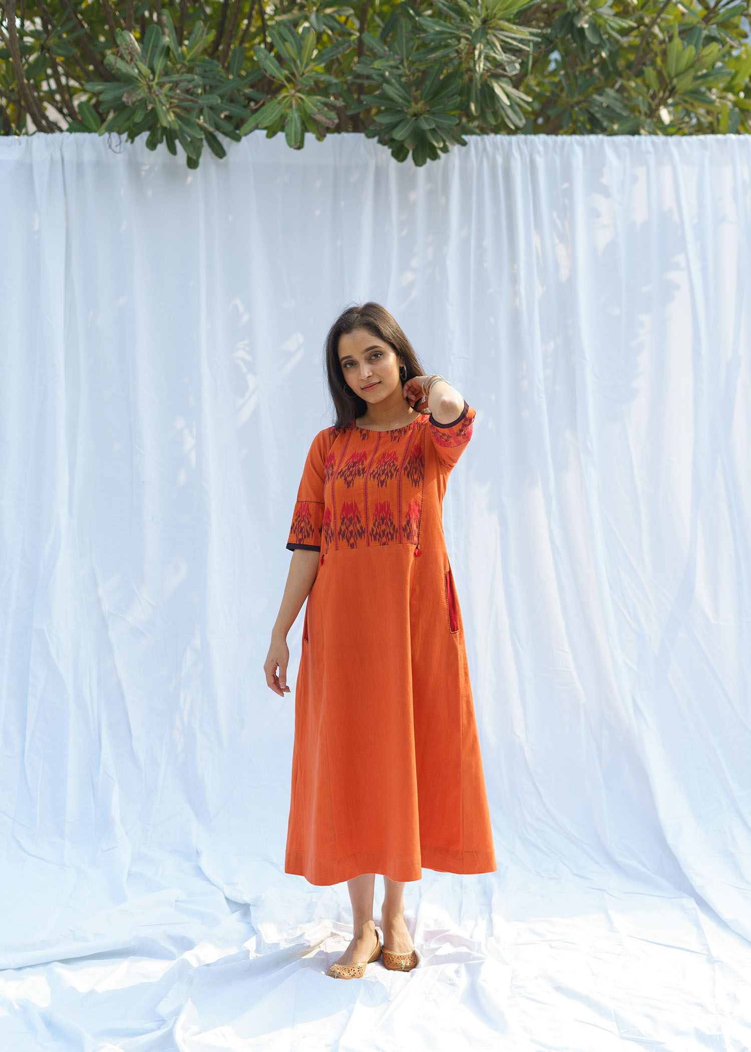 Burnt Orange Handwoven Cotton & Ikat Dress