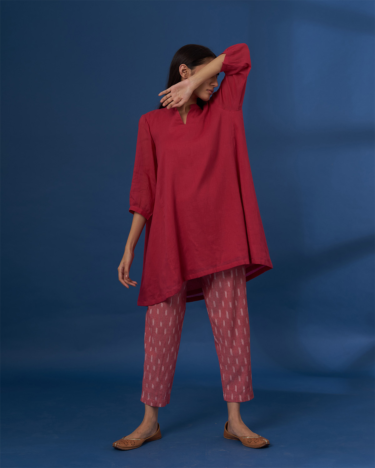 Carrot Red Cotton Cambric Anti-Fit Top