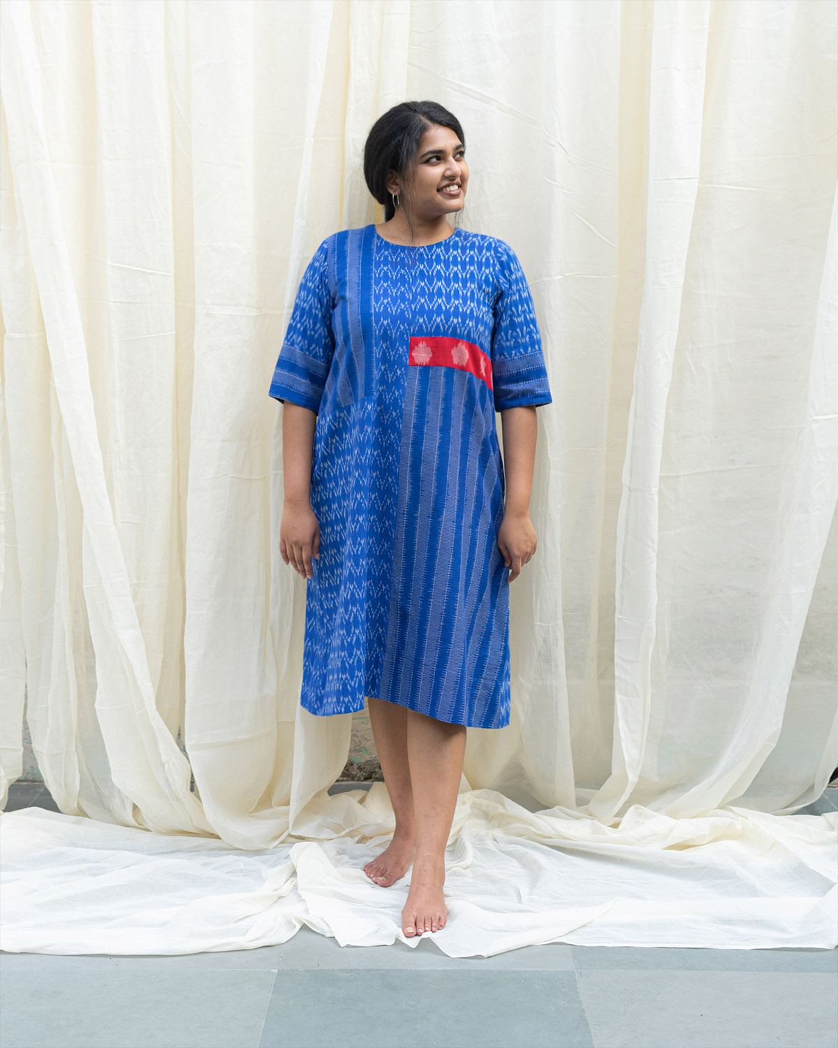 Cobalt Blue & Red Ikat Mid-Length Tunic