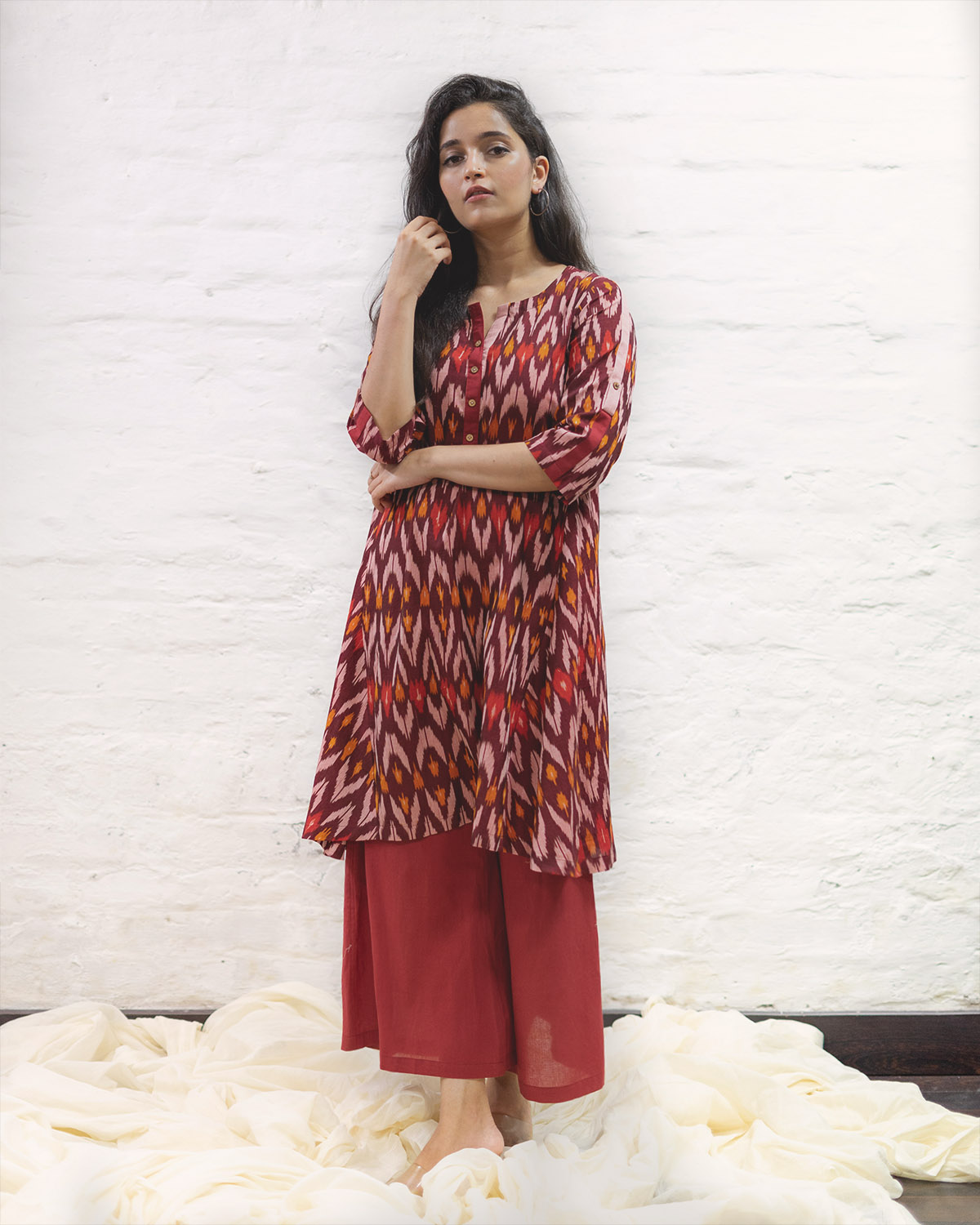 Burgundy Mercerised Ikat Kurta