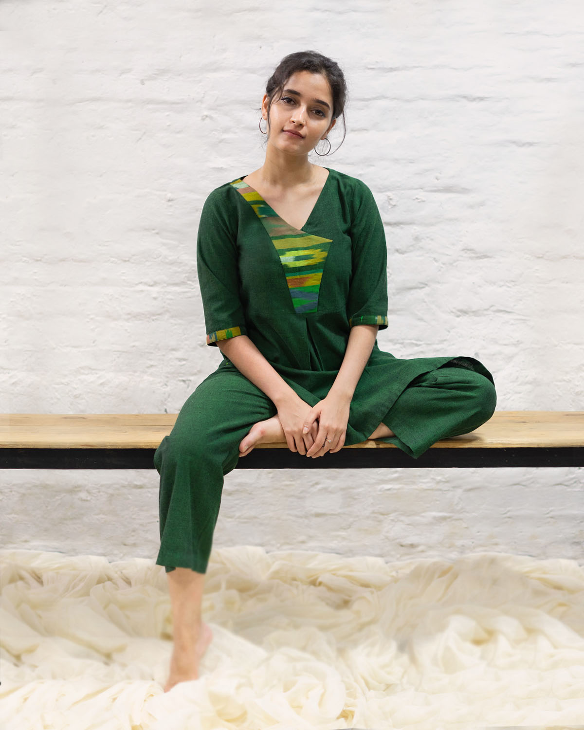Bottle Green Handwoven Cotton & Indonesian Pattern Double Ikat Loungewear Set