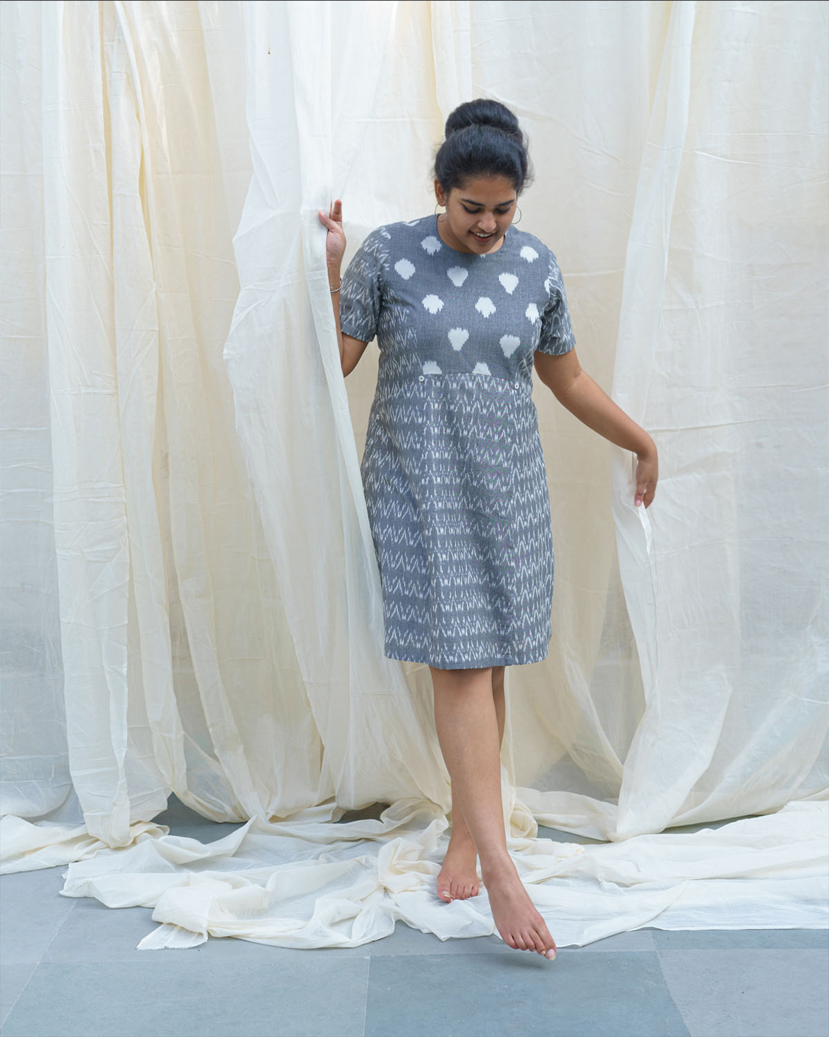 Grey & White Ikat Shift Dress