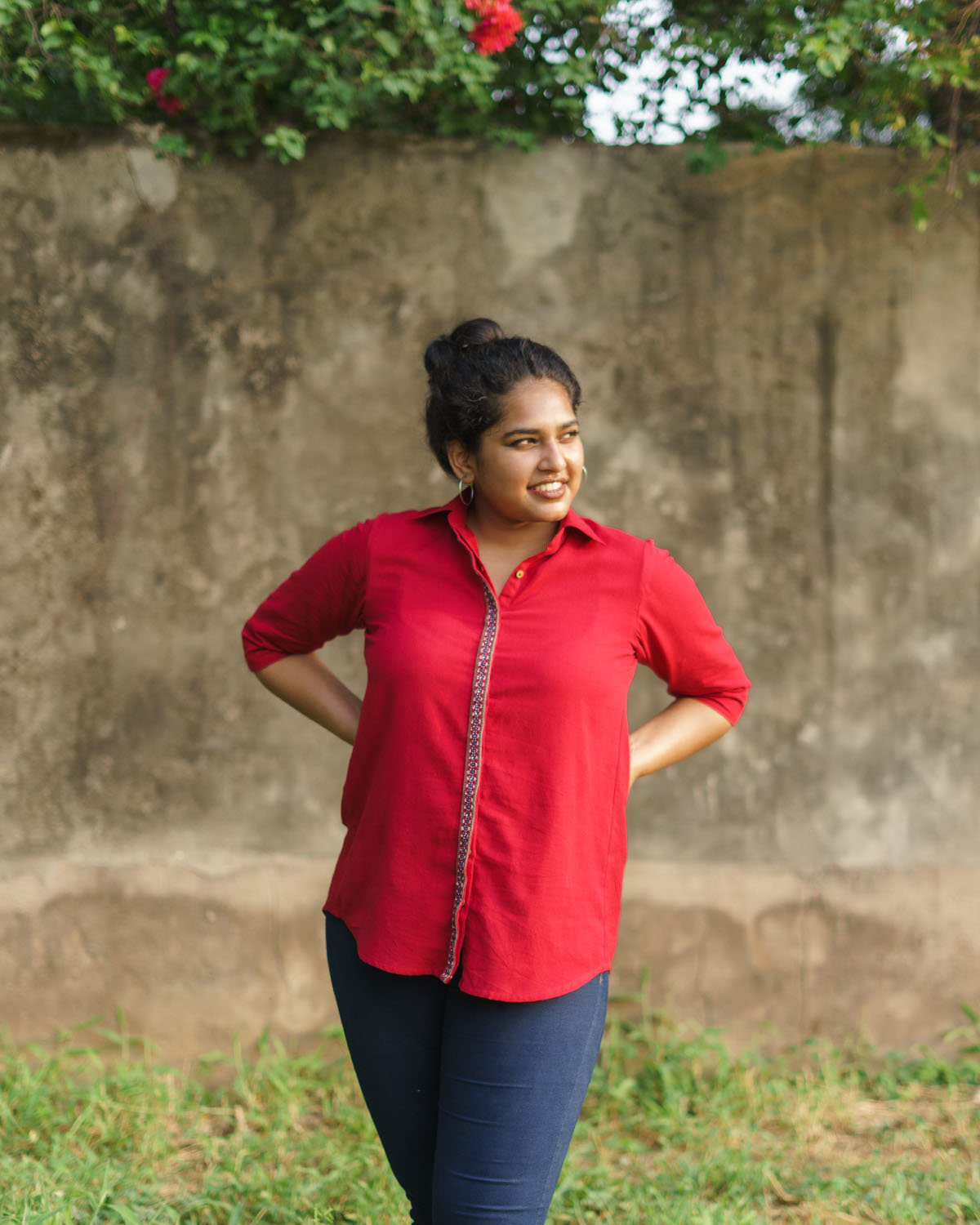 Red Handwoven Cotton & Handwork Shirt