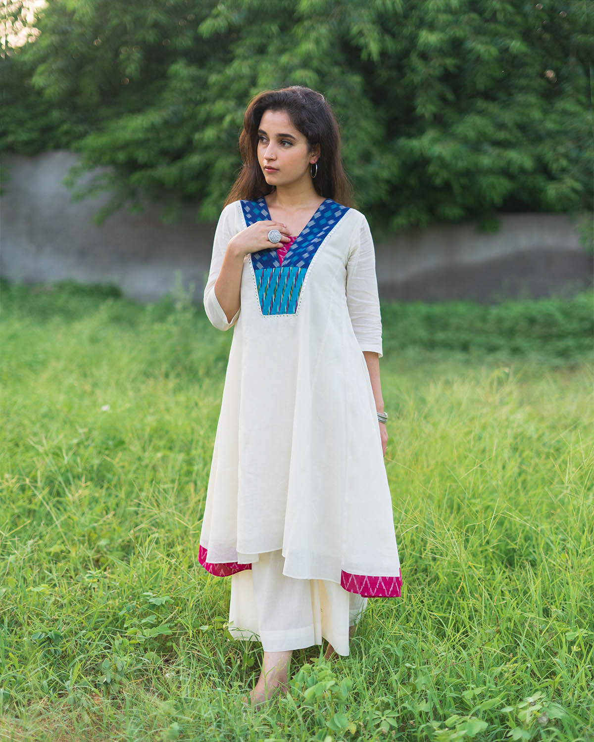 Off-White & Blue Ikat Pure Mulmul Kurta with Handwork
