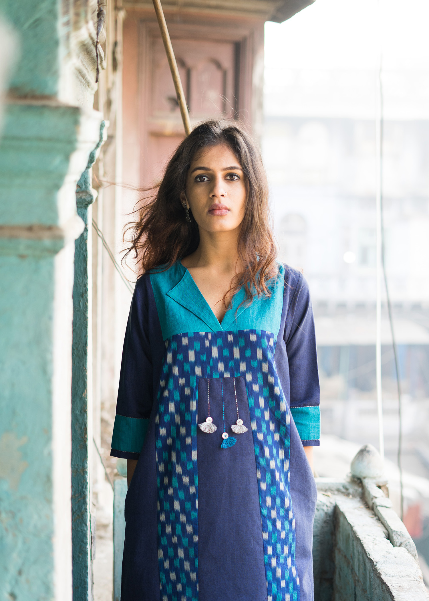 Lapis Blue Handwoven Cotton & Ikat Kurta