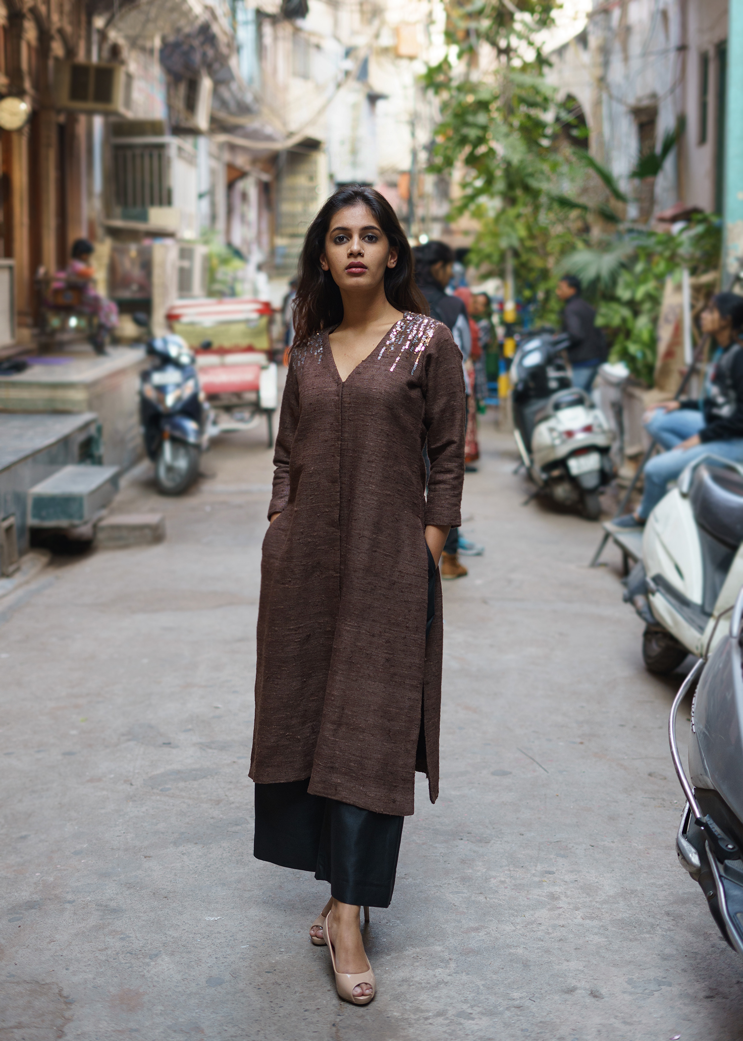 Chocolate Brown Ghicha Handwoven Silk Kurta with Sequin Detailing