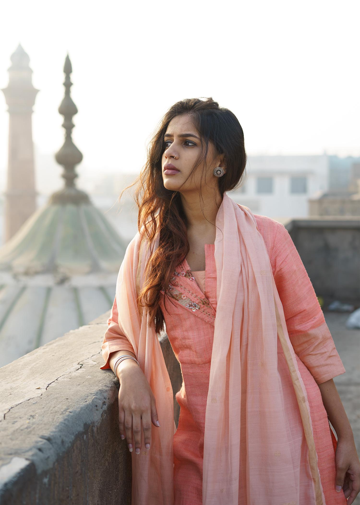 Peach Bhagalpuri Handwoven Silk Kurta with Accented Flap