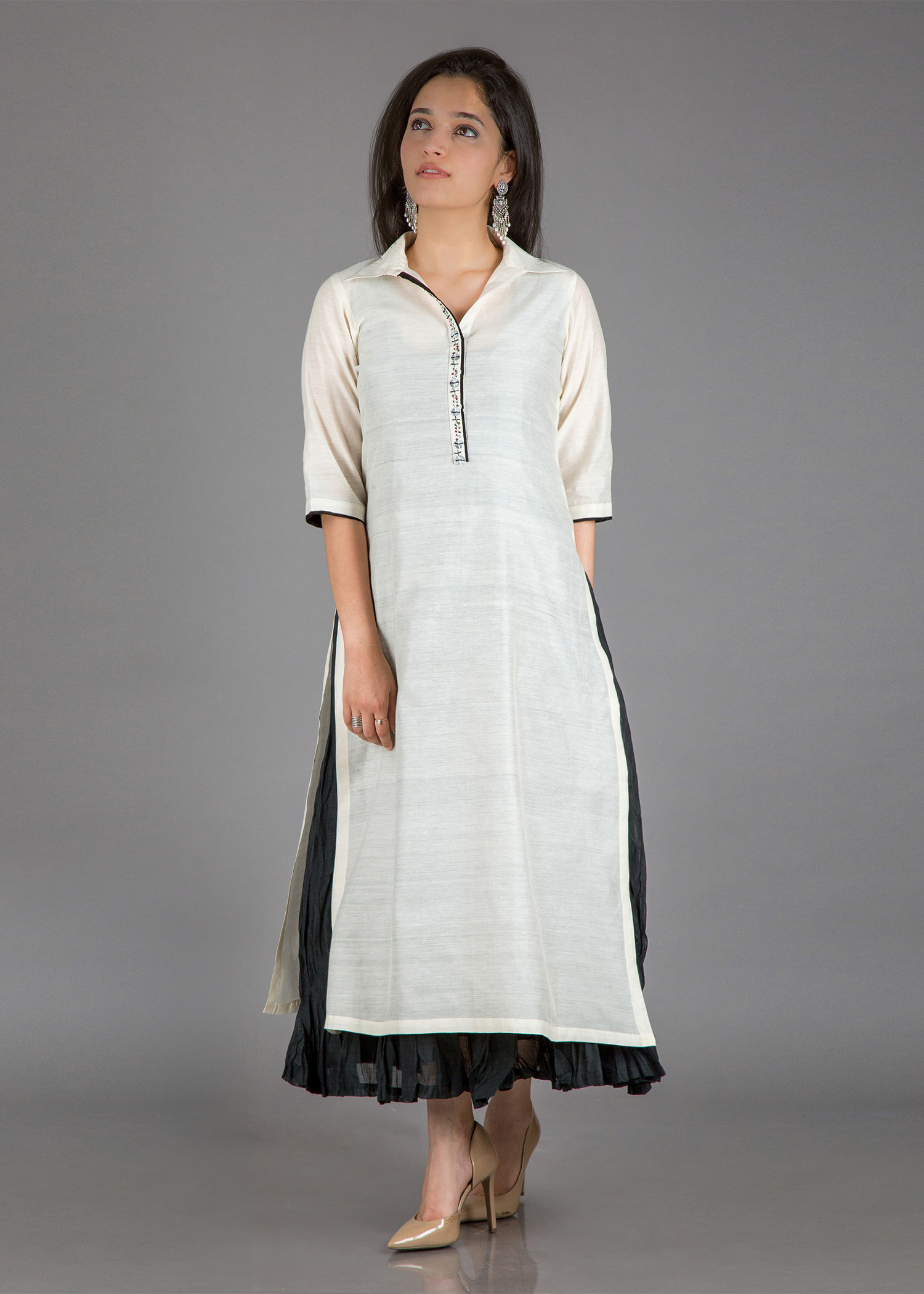 Ivory & Black Edit -  White Chanderi Kurta with Crushed Black Chanderi Kalidaar