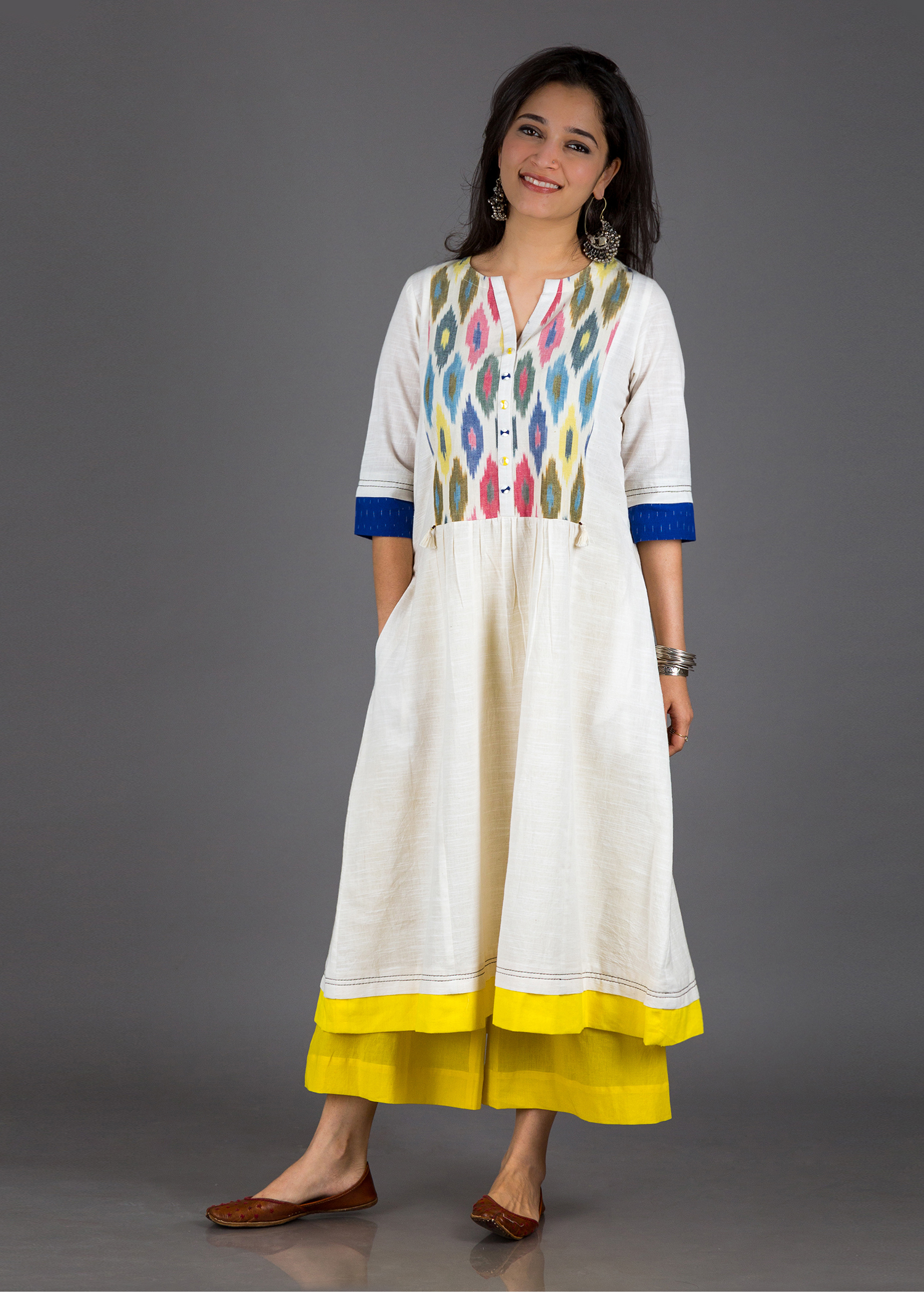 The Candy Floss Kurta - Handwoven Cotton with Handwoven Ikat Yoke
