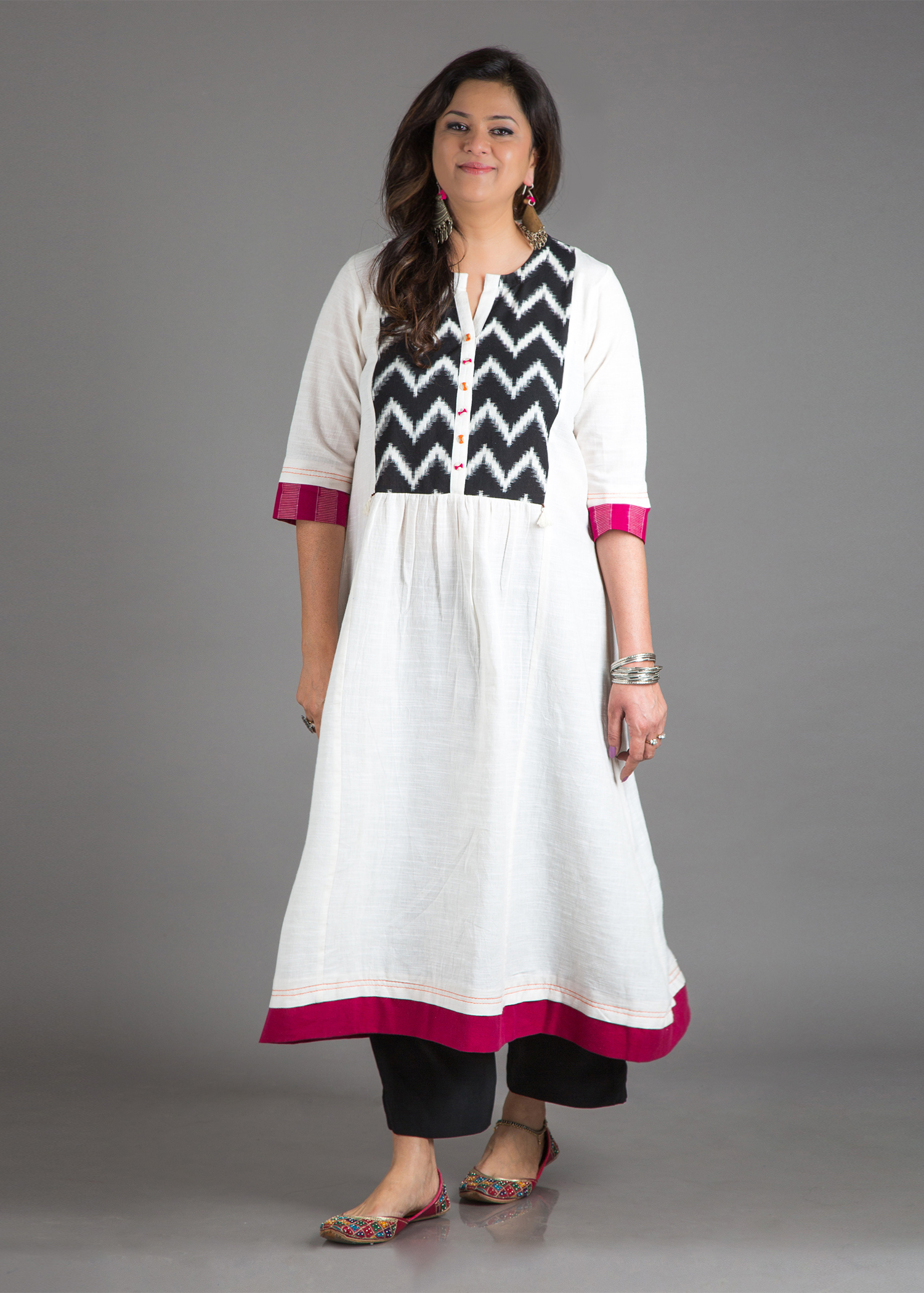 The Mixed Berry Kurta - Handwoven Cotton with Handwoven Ikat Yoke