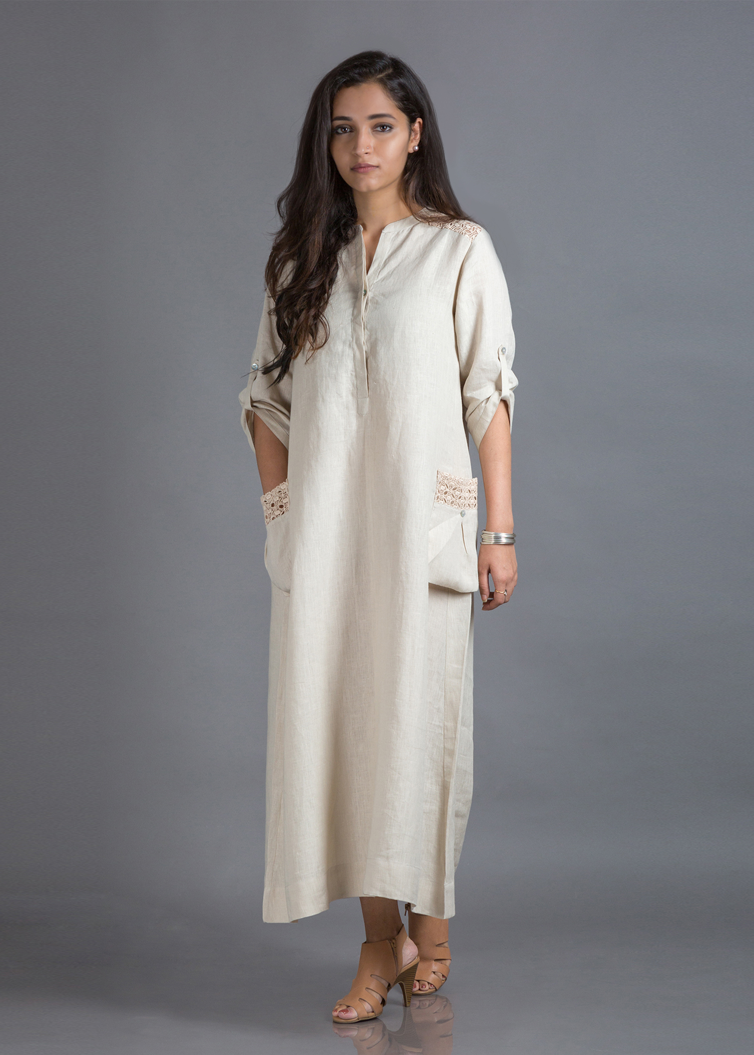 Ivory Beige Pure Linen Dress