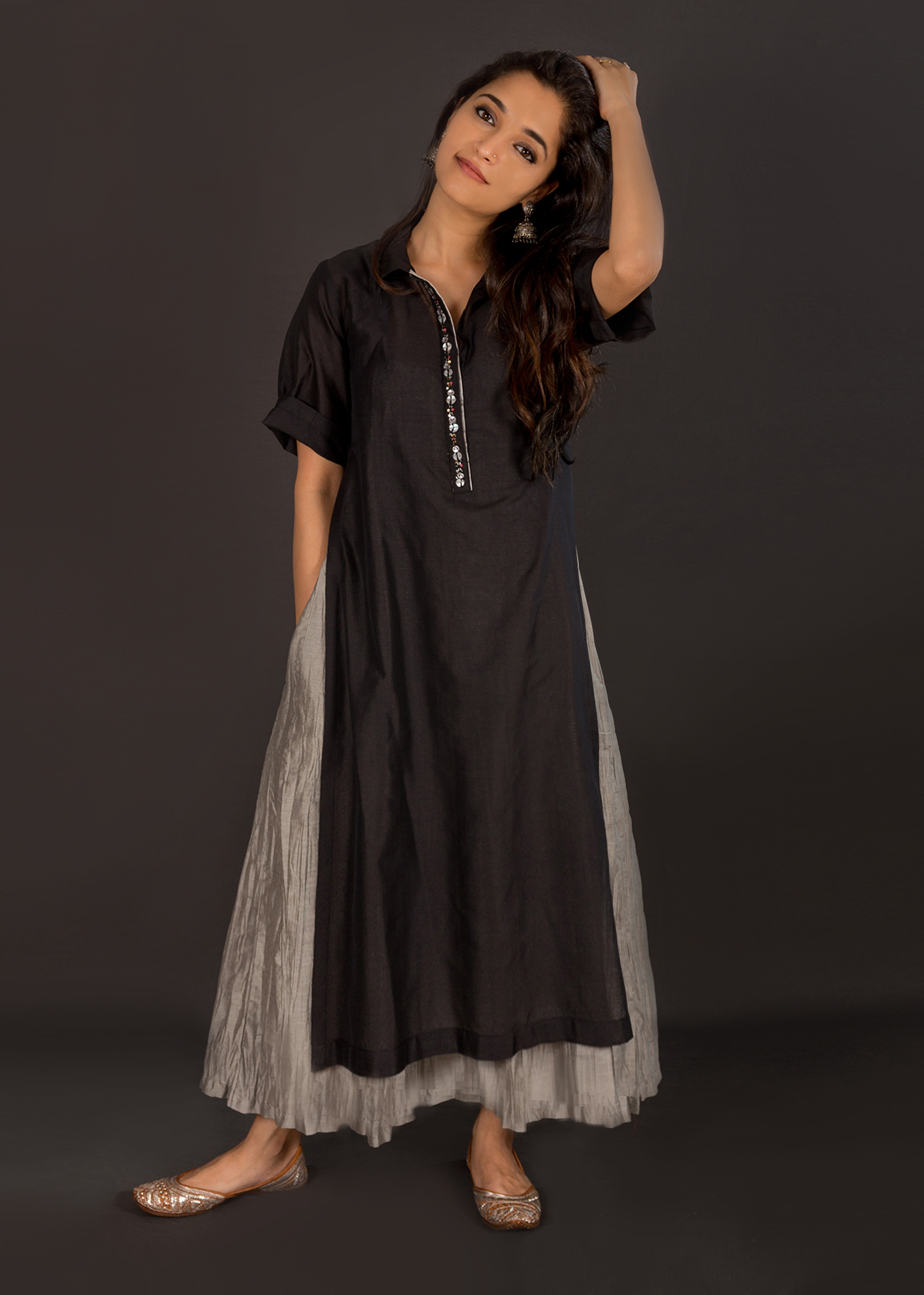 Black Chanderi Kurta with Crushed Grey Chanderi Kalidaar