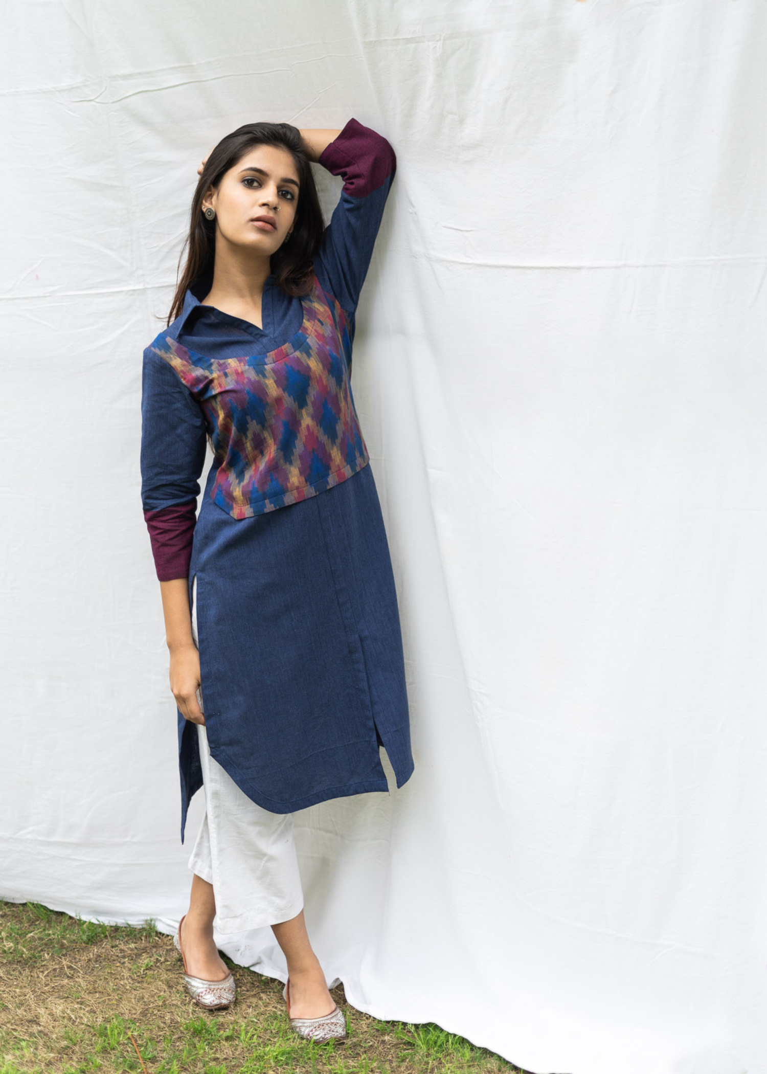 Cobalt Blue Crop Vest High-Low Kurta