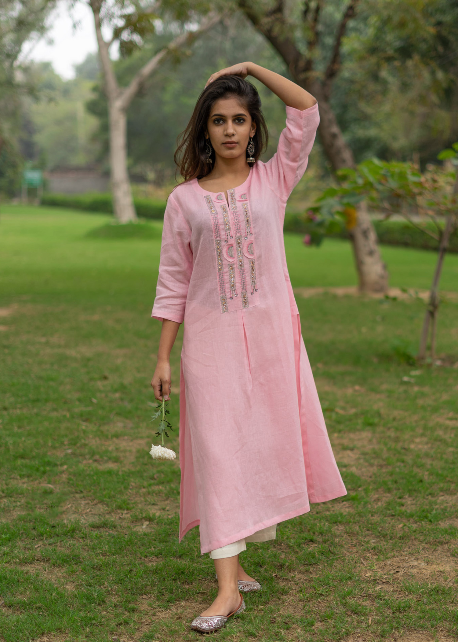 Baby Pink Linen Tunic with Cut-Fray Handwork