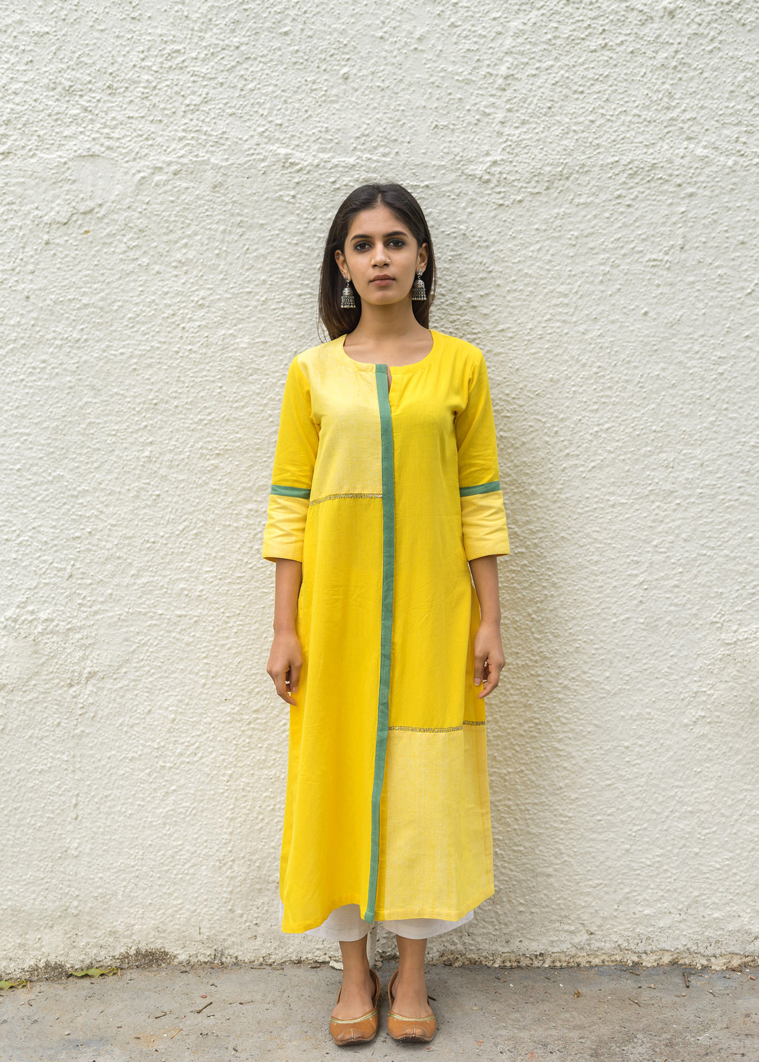 Yellow Block & Line Kurta